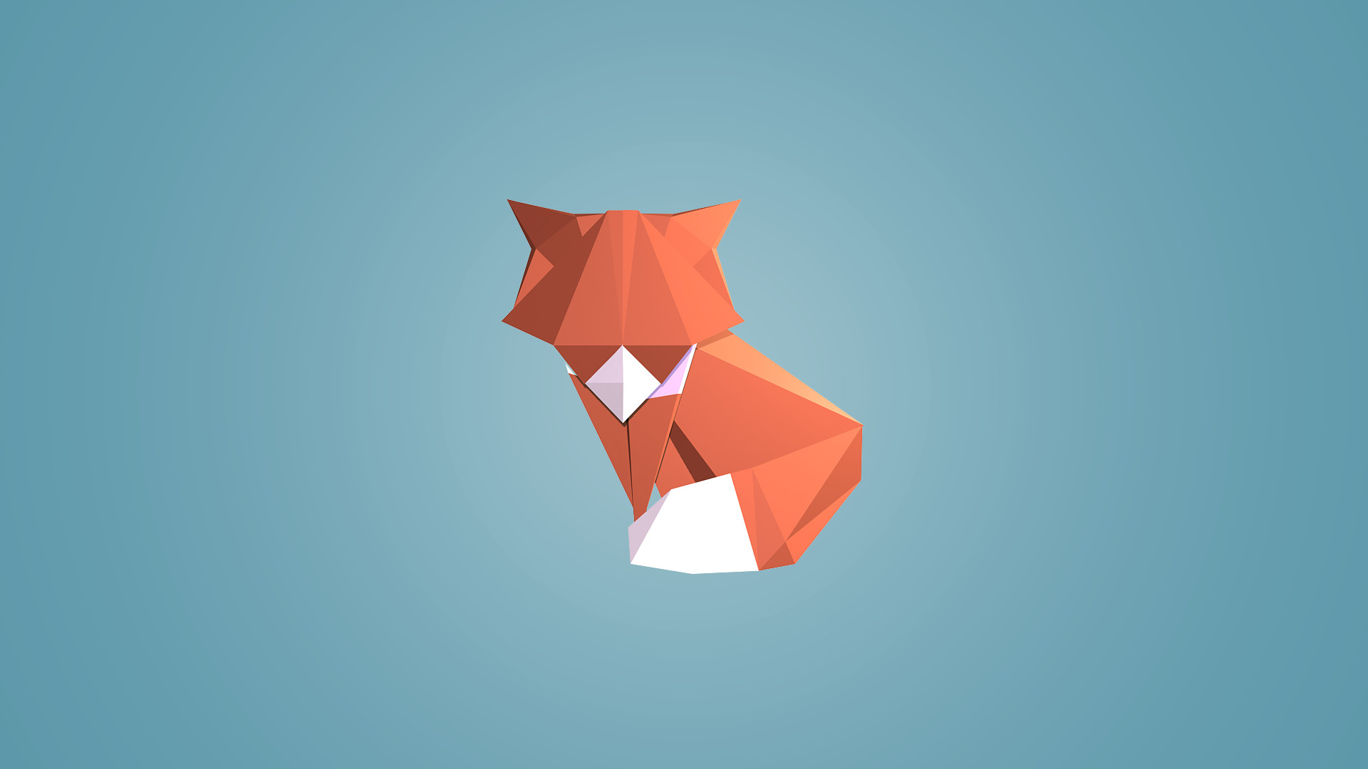 digital Art, Low Poly, Animals, Fox, Blue Background, Simple Background,