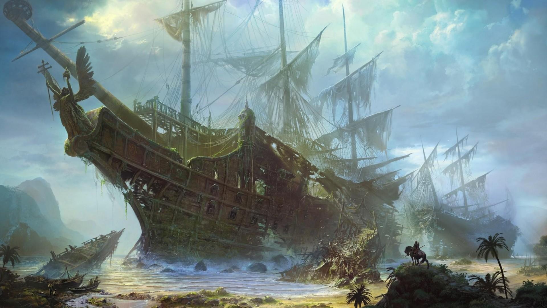 Wallpaper ships, old, wreckage, beach, sea, sky, clouds
