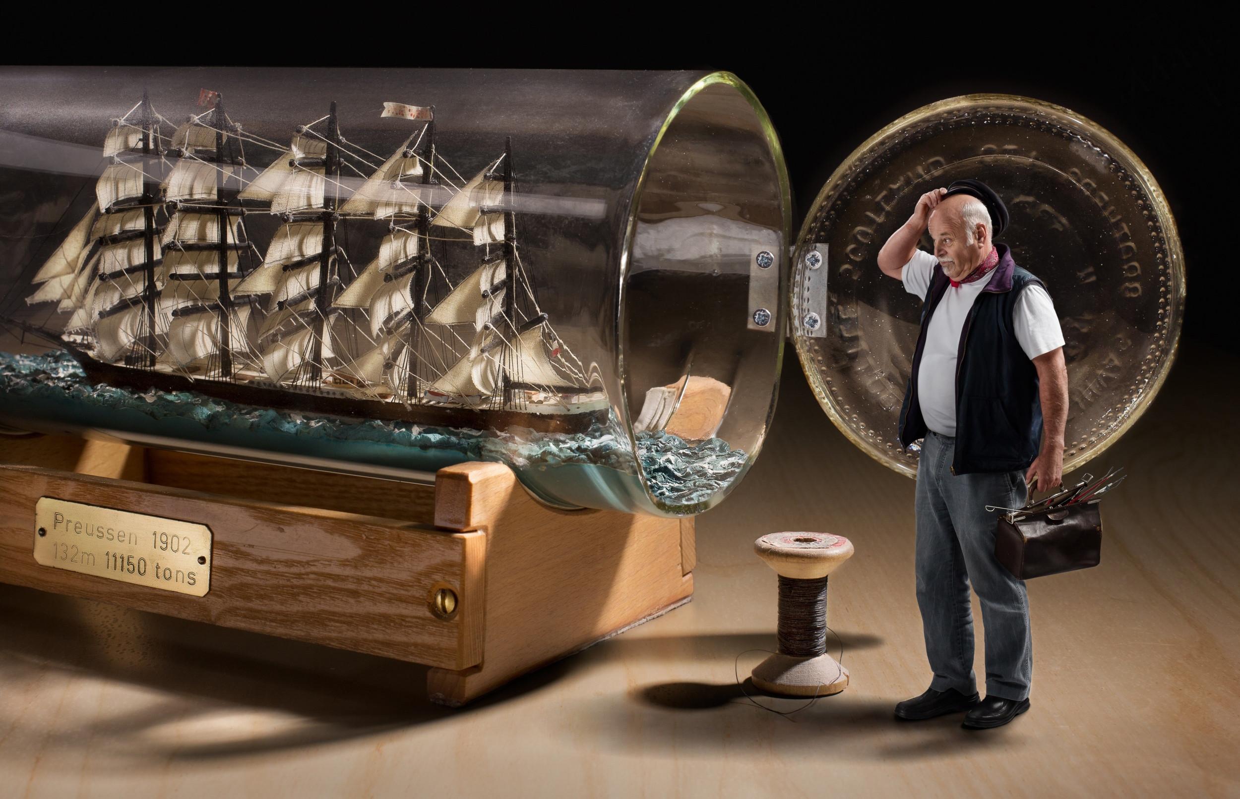 … sailboat, bottle, old man, explorers, ship, Bobbins, creative design,