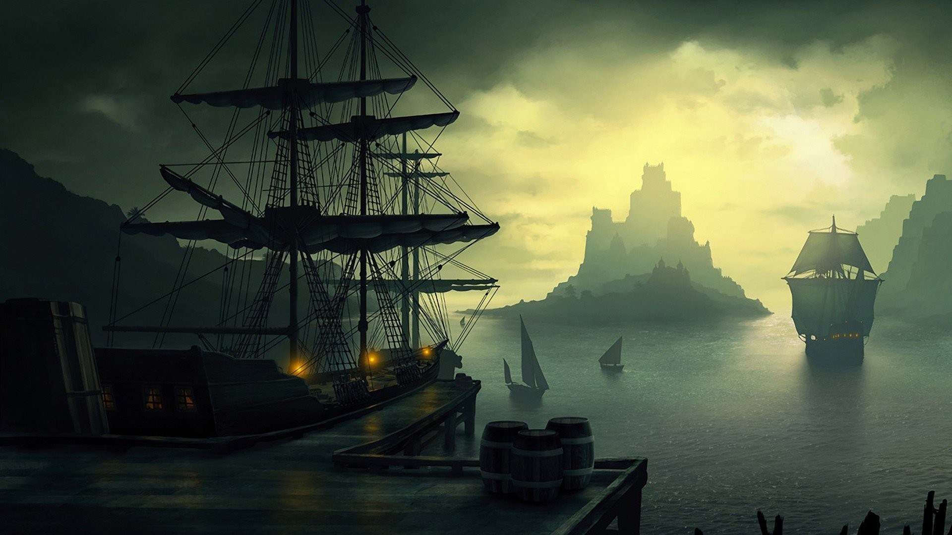 old ship, Ship, Barrels, Clouds, Sailing, Lantern, Sun, Island, Bay, Dock  Wallpapers HD / Desktop and Mobile Backgrounds