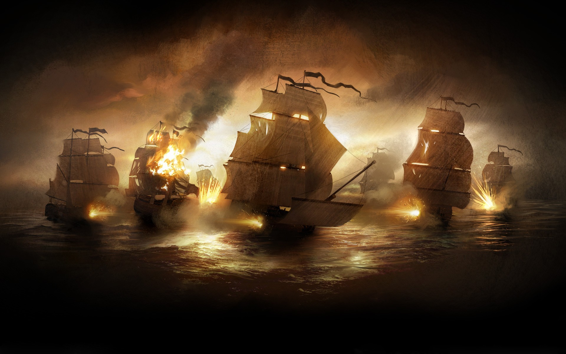 Old Sailing War Ships in Battle Painting gaming games images pictures  screenshots GameScapes GamingShot concept digital art VistaLore daily pics  beauty …