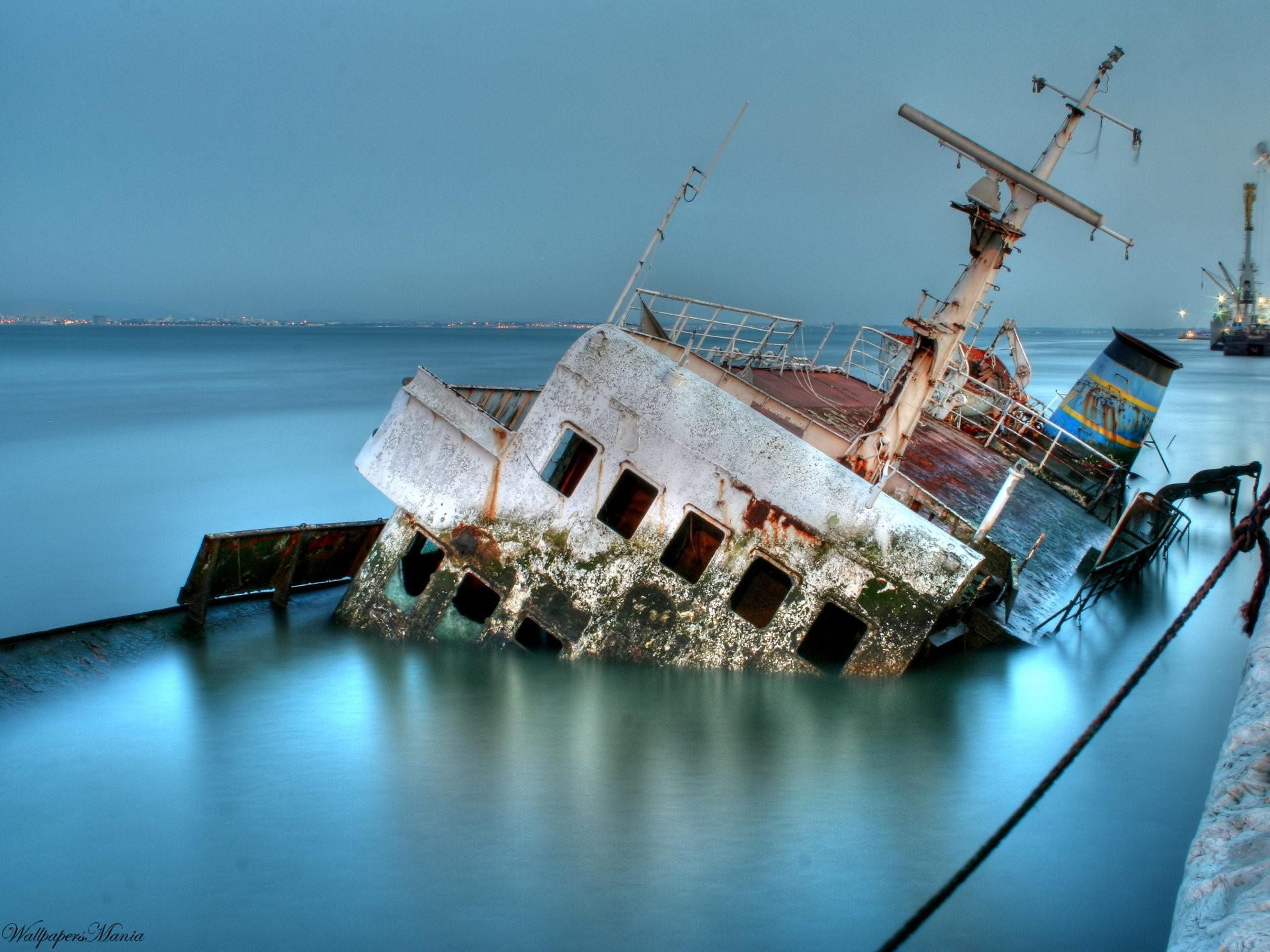 Sunken old ship