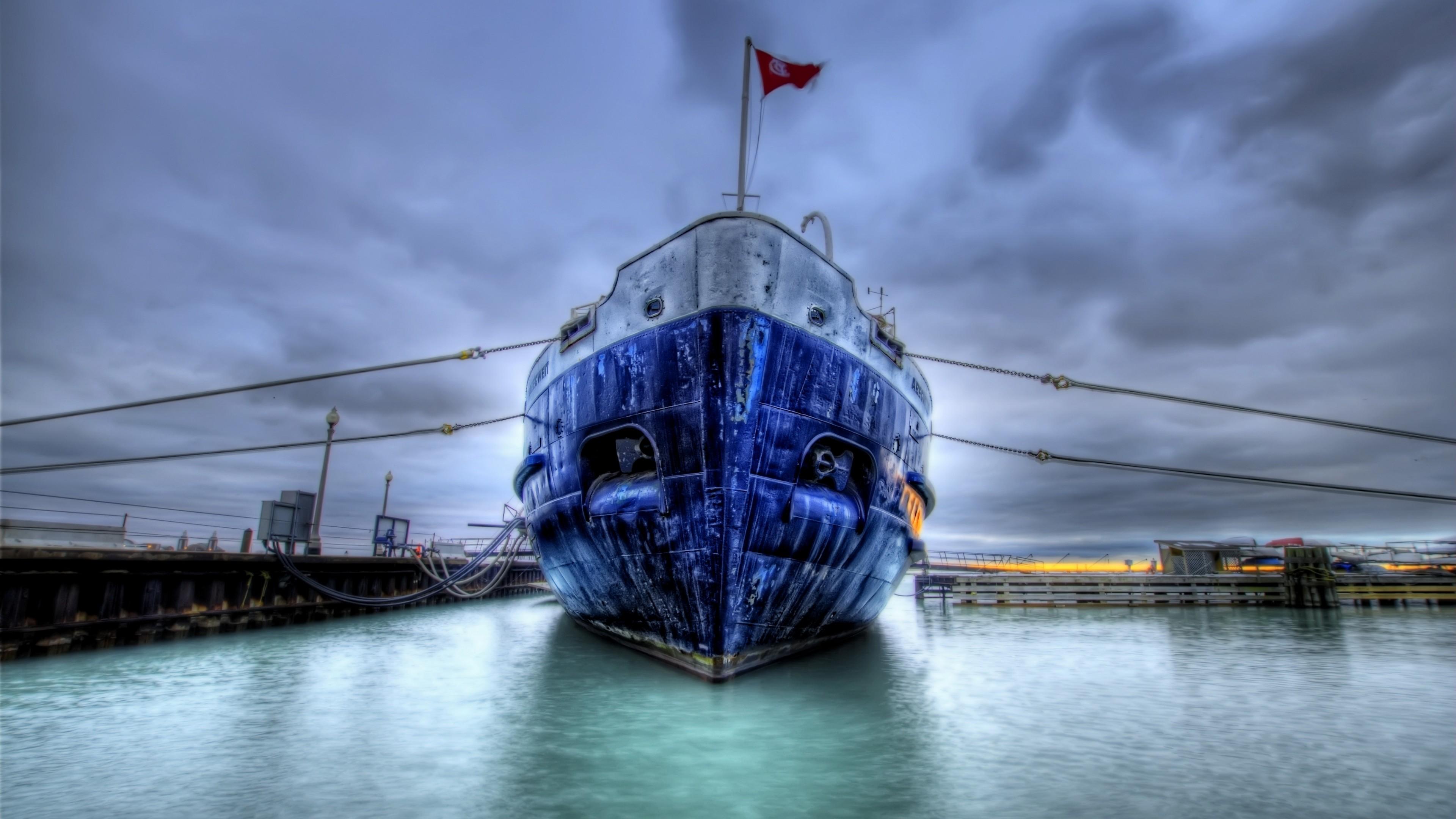Wallpaper boat, ship, dock, sea, flag, hdr