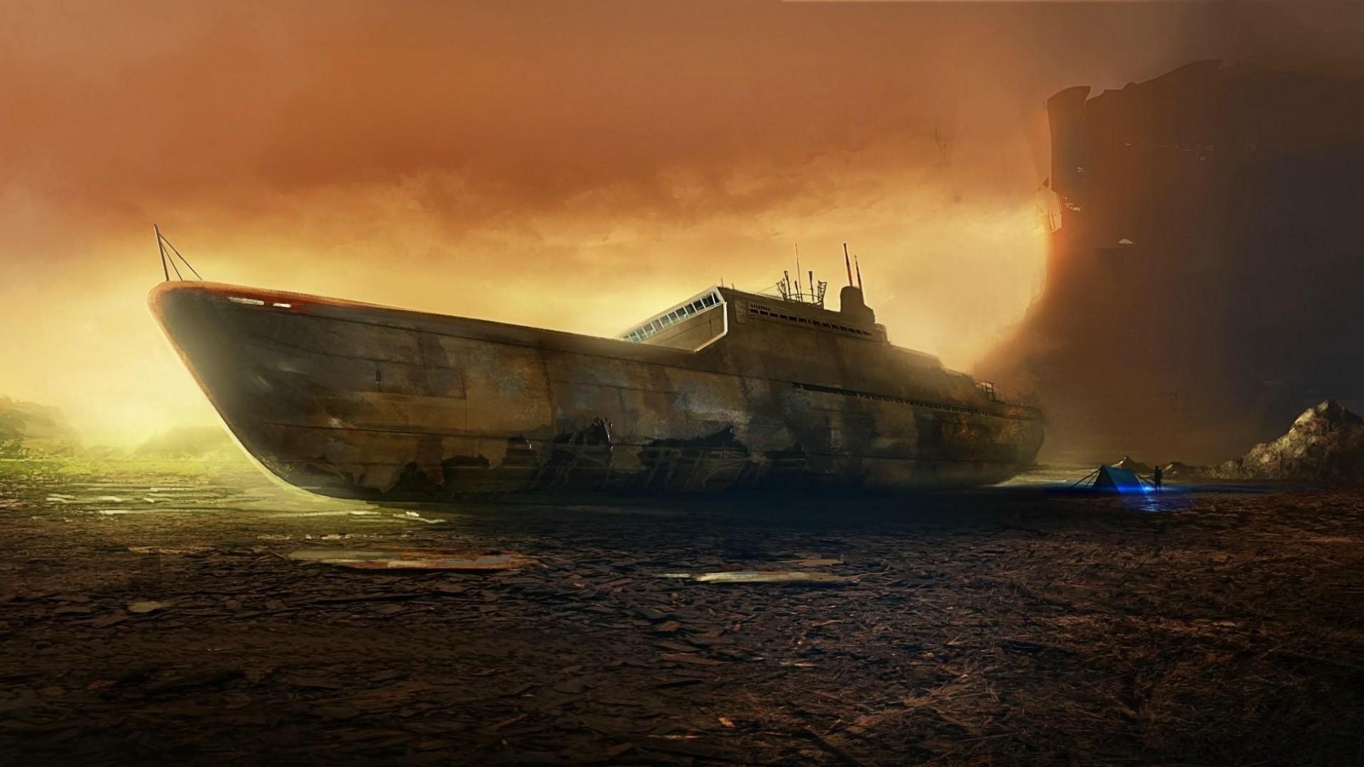Wallpaper ship, destruction, beach, tent, man
