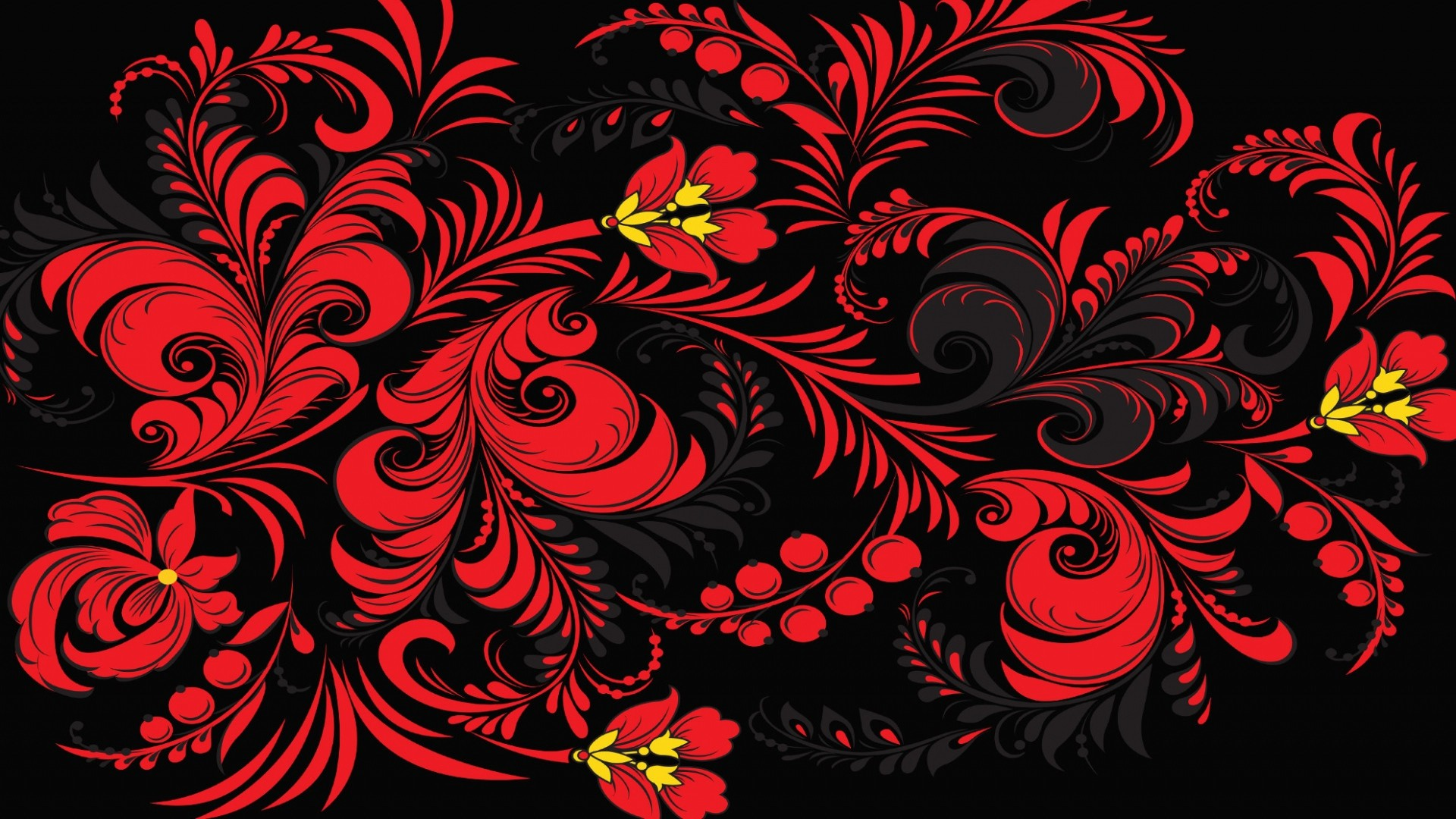 Preview wallpaper khokhloma, pattern, color, background, russia, texture  1920×1080