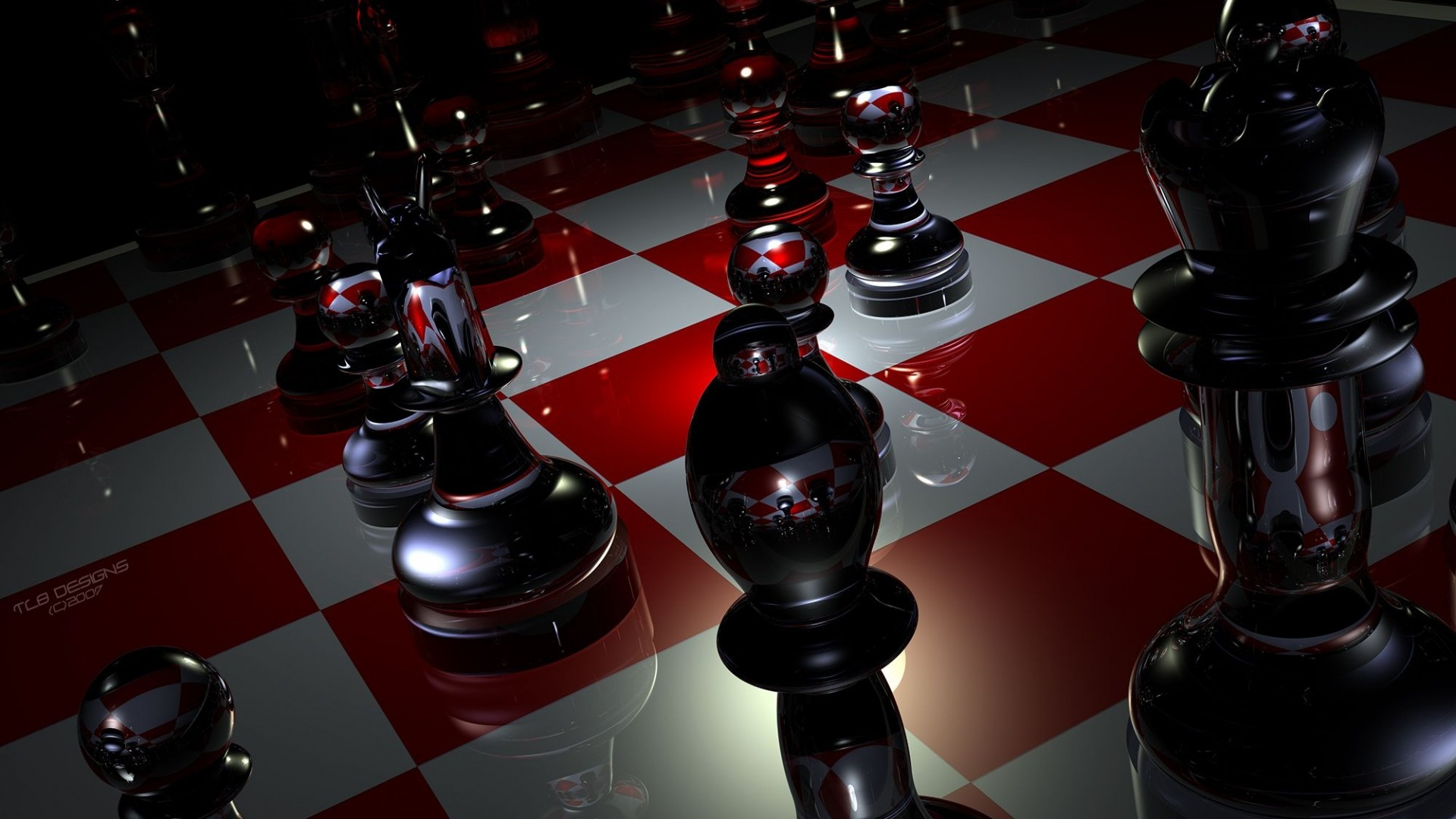Preview wallpaper pieces, chess, boards, glass 1920×1080