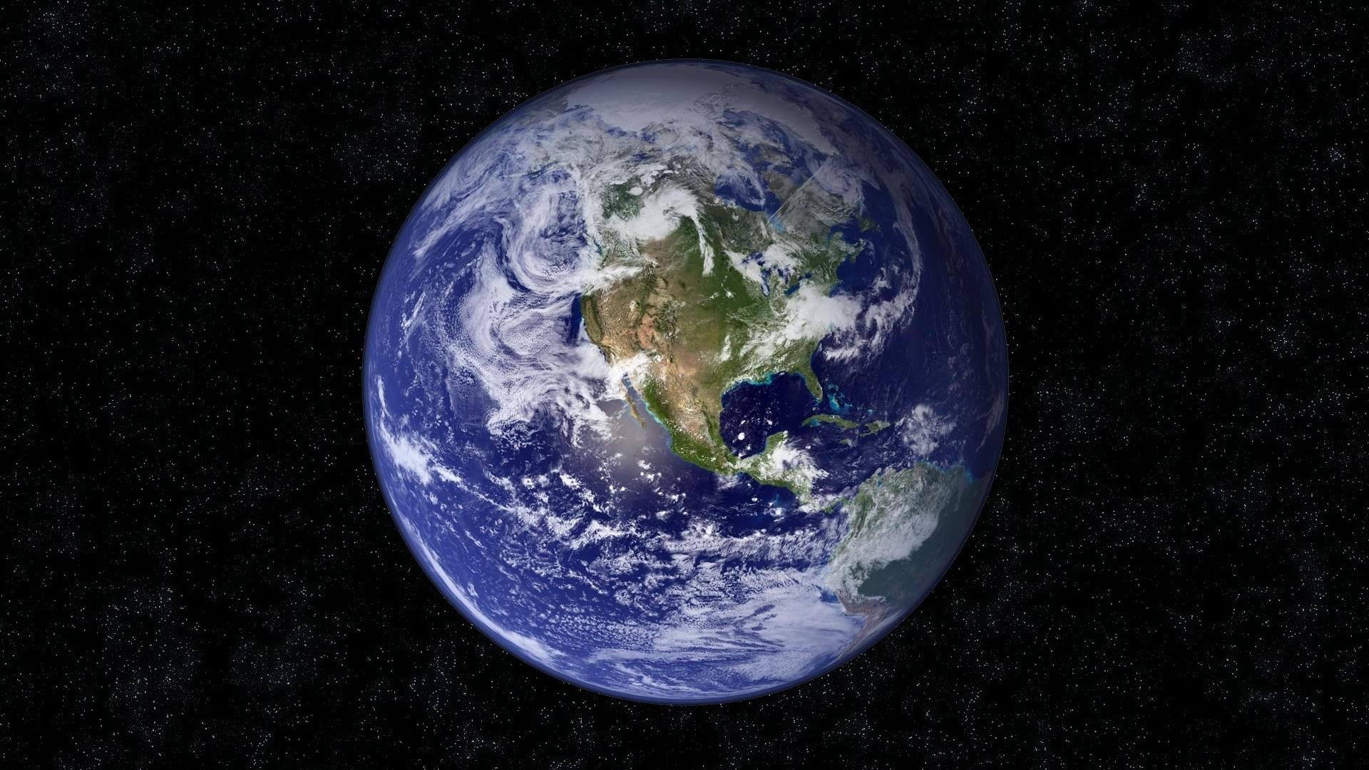 Preview wallpaper earth, planet, blue, black, stars 1920×1080