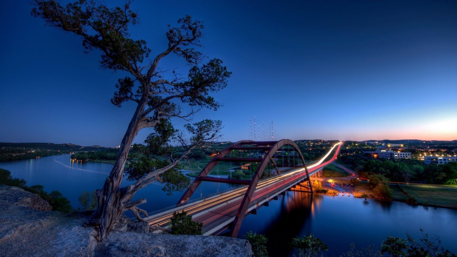 Preview wallpaper texas, austin, pennybacker bridge, hdr 1920×1080