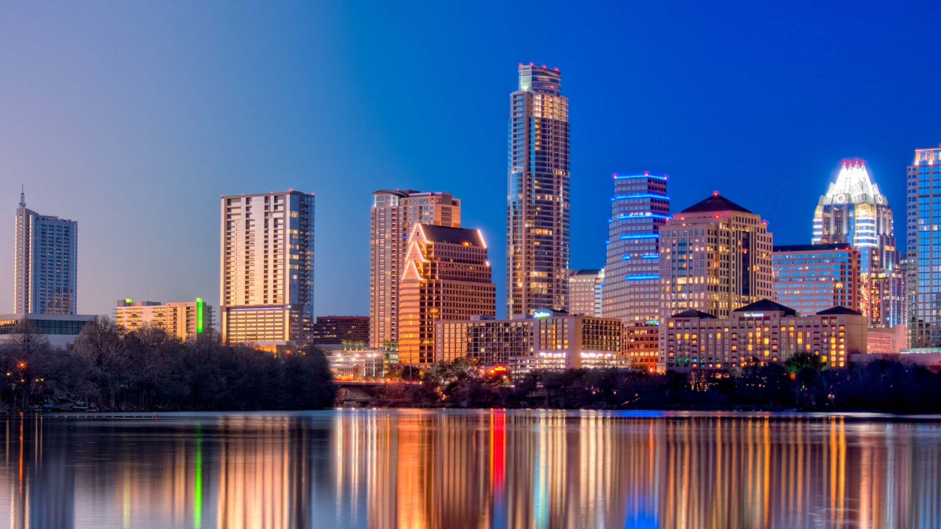 Preview wallpaper austin, texas, twilight, skyscrapers, reflection, river  1920×1080