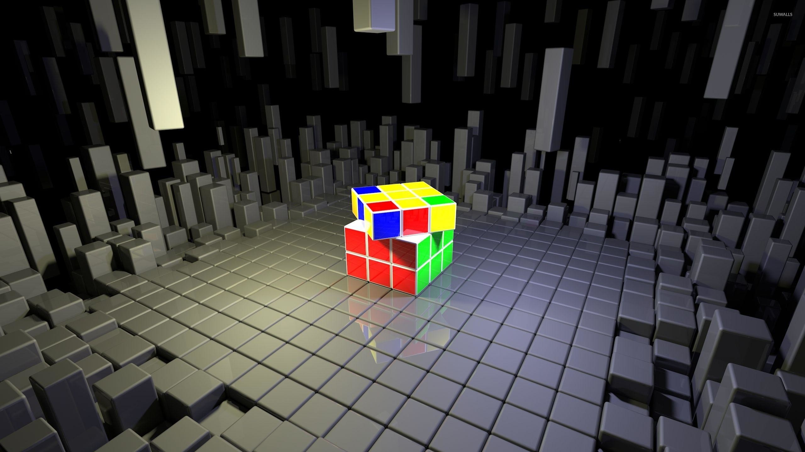 Rubik's Cube on top of gray cubes wallpaper – 3D wallpapers – #50972