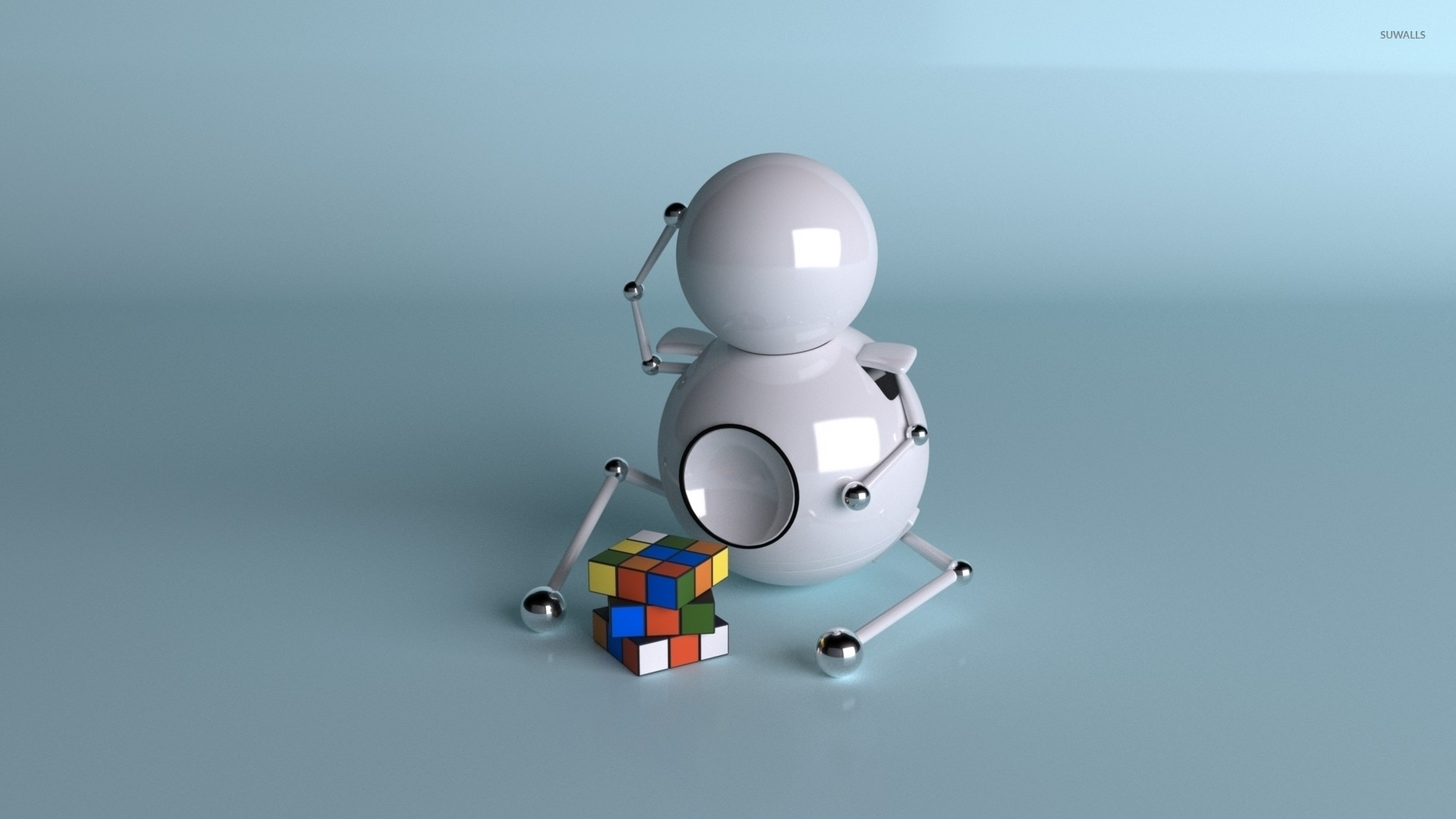 Robot puzzled by the Rubik's cube wallpaper