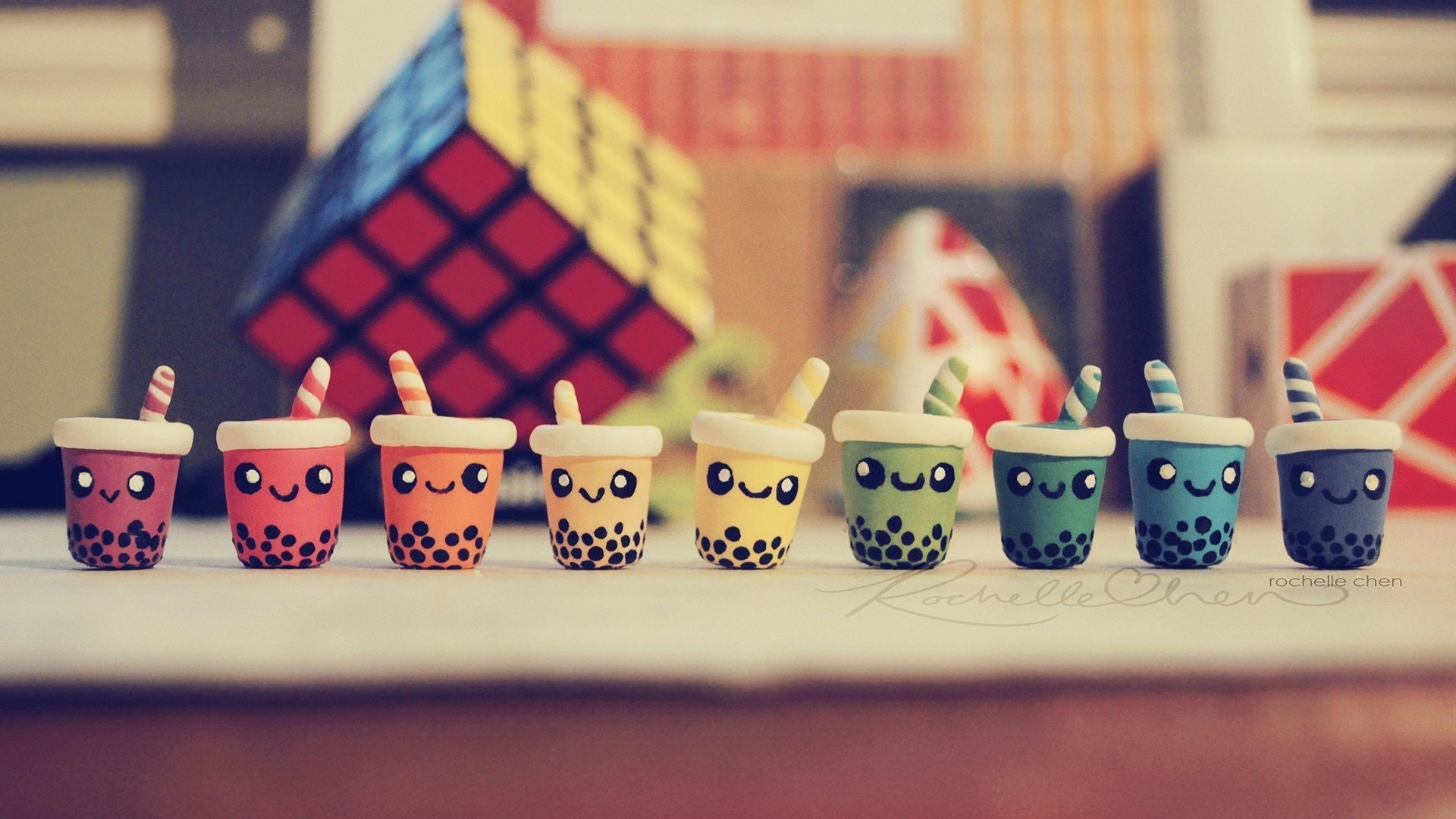 mood drink mugs tube cocktail faces smile rubik's cube toys positive bright  background wallpaper