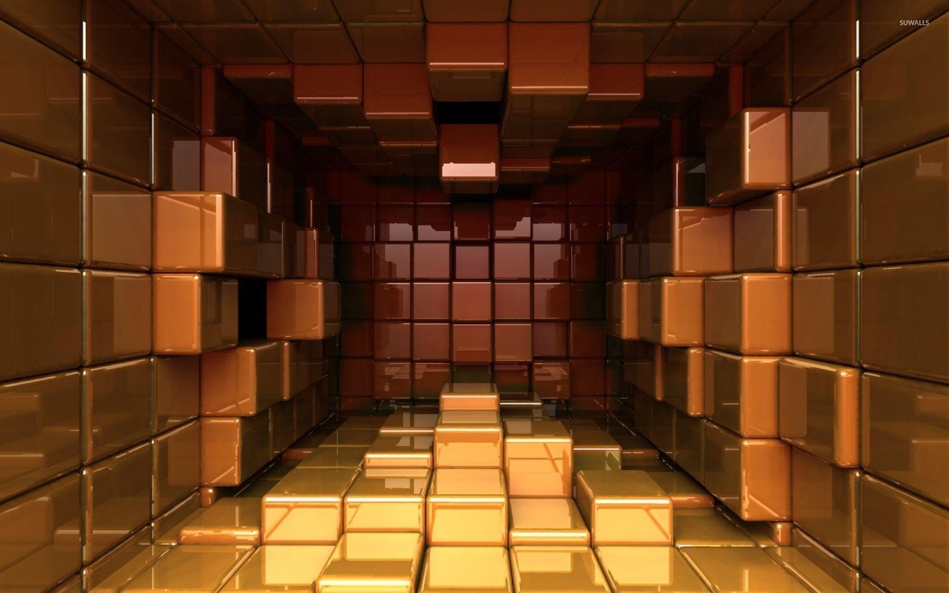 Red and golden cubes wallpaper jpg