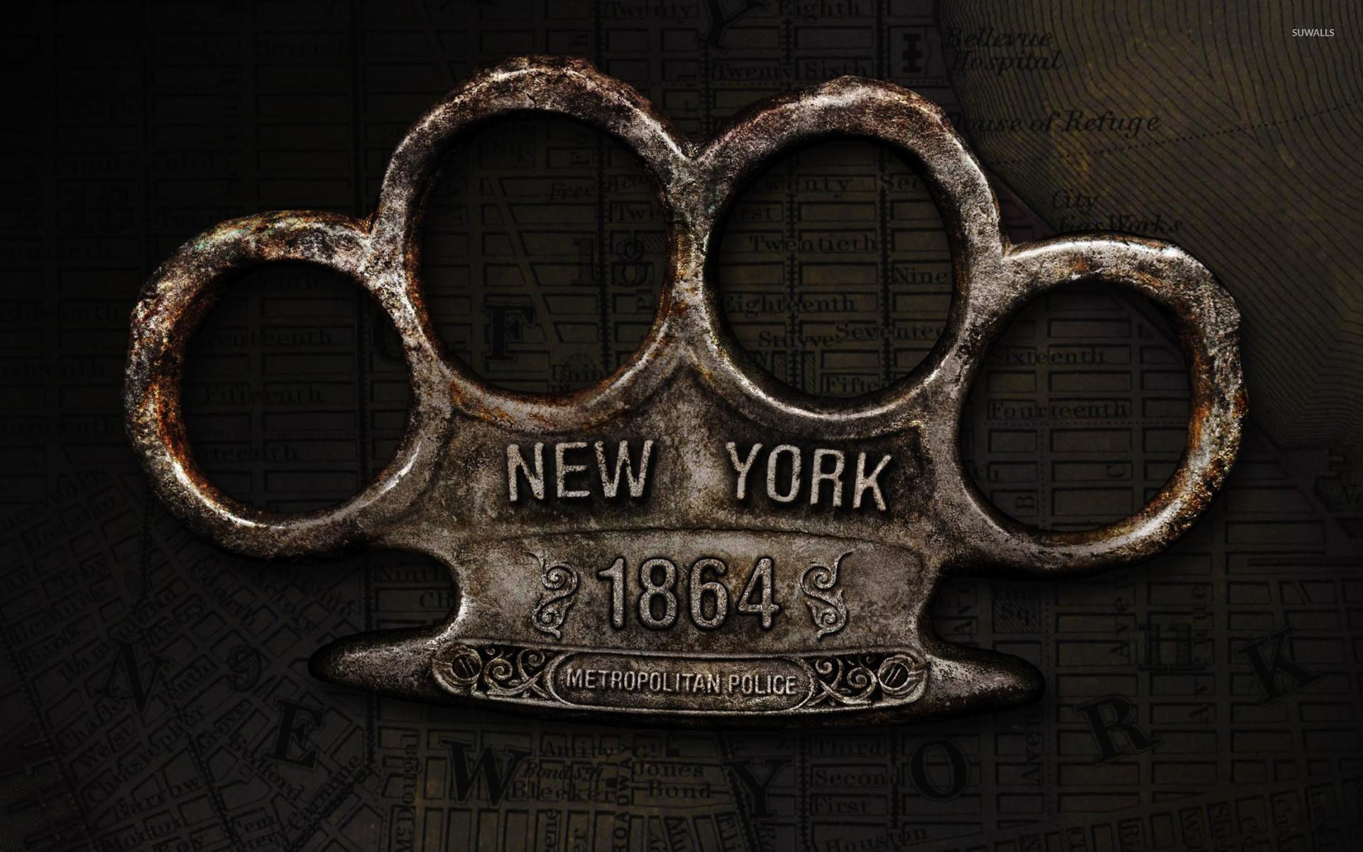 Brass knuckles New York metropolitan police wallpaper
