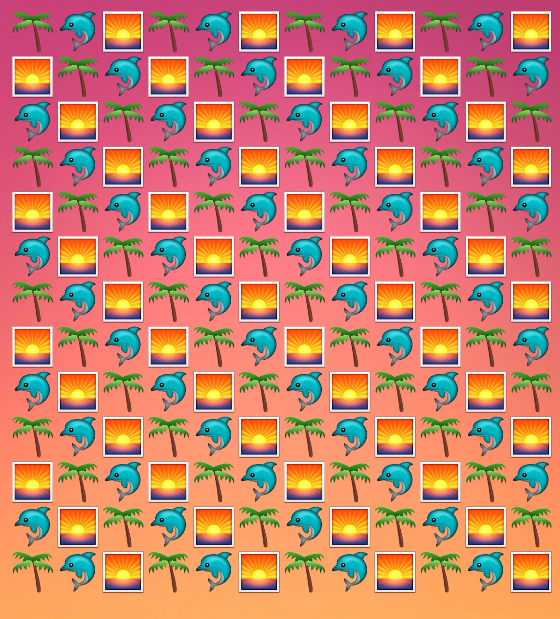 Emoji wallpaper background for desktop or phone ~ dolphins on a tropical  sunset beach