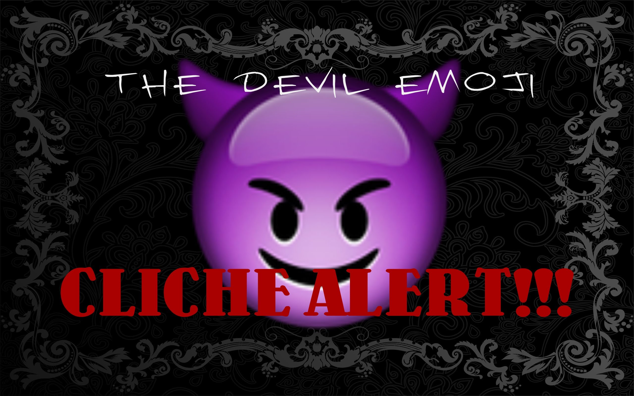 Emoji Fashion Purple Devil, Fire, and 100 Emojis, With Black Backgroun