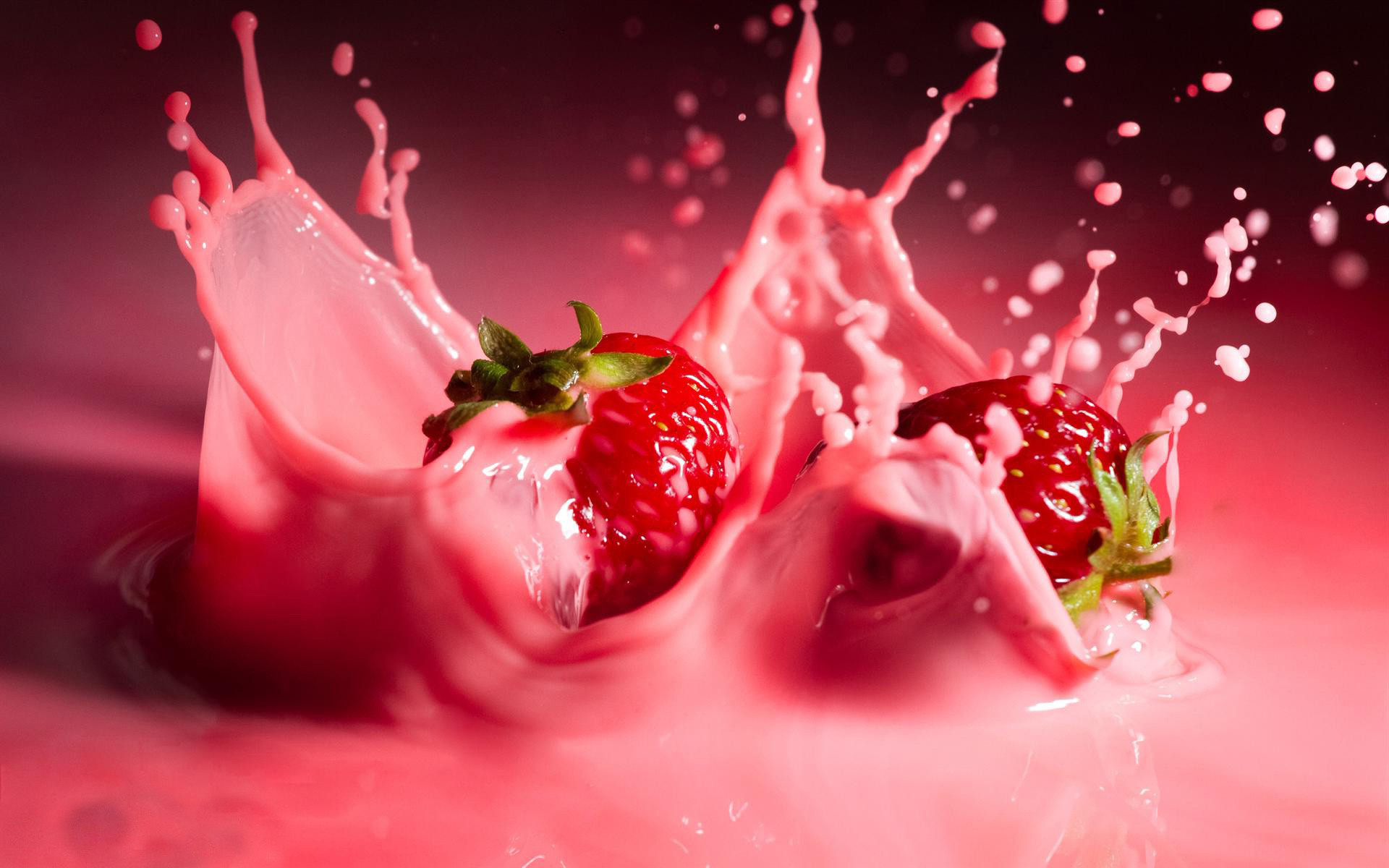 fruits 3D HD   3D Strowberry Fruits Milkshake Photography Wallpaper HD Photo