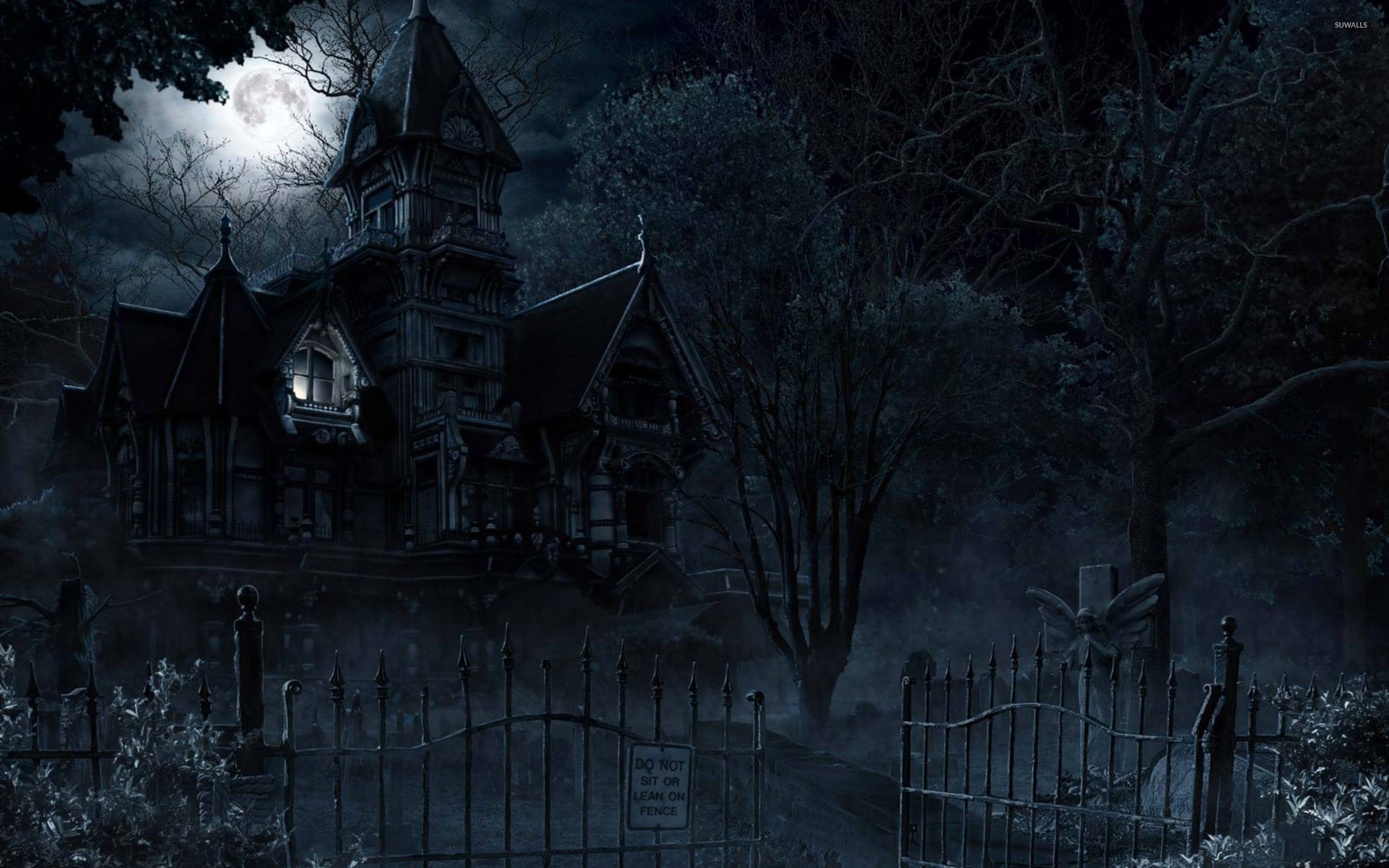 Haunted mansion in the full moon wallpaper jpg