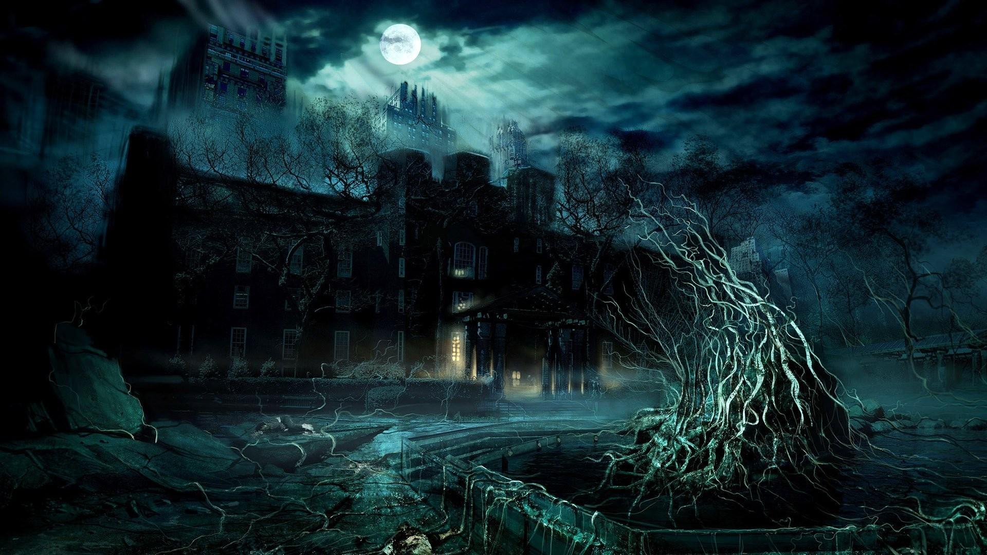 Dark mansion under the full moon digital art hd wallpaper x .