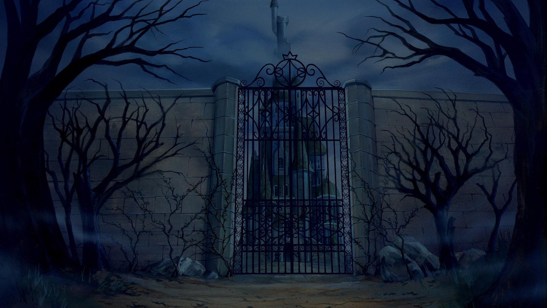 disney haunted mansion at night
