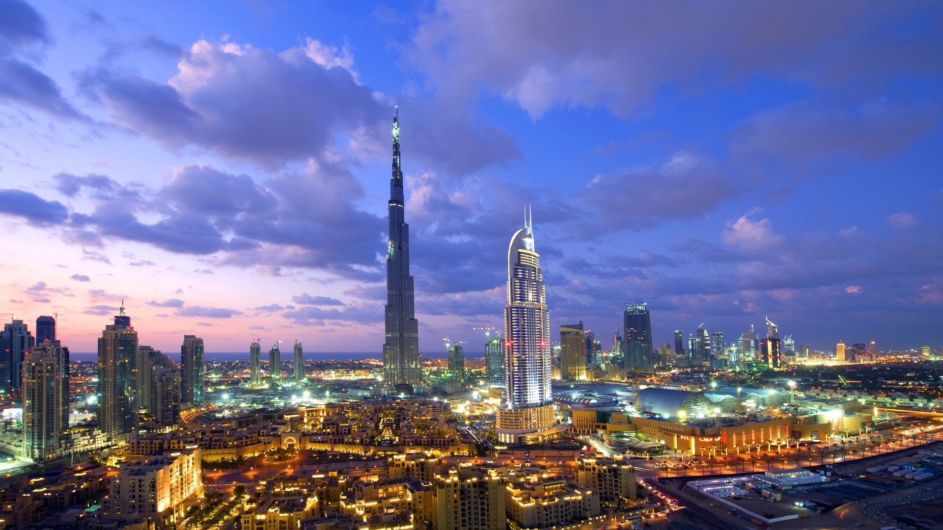 Preview wallpaper dubai, building, view from the top, view, city lights  1920×1080