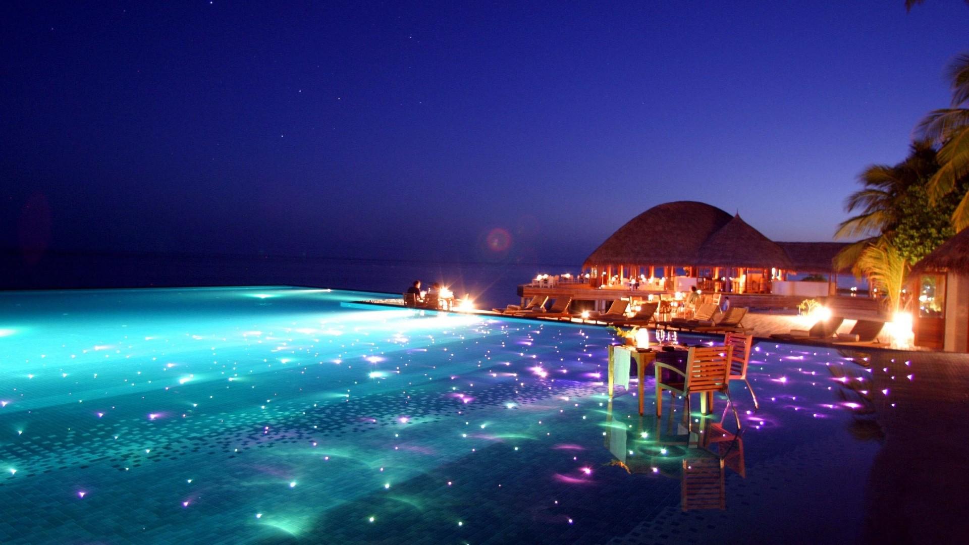 Preview wallpaper maldives, tropical, resort, evening 1920×1080