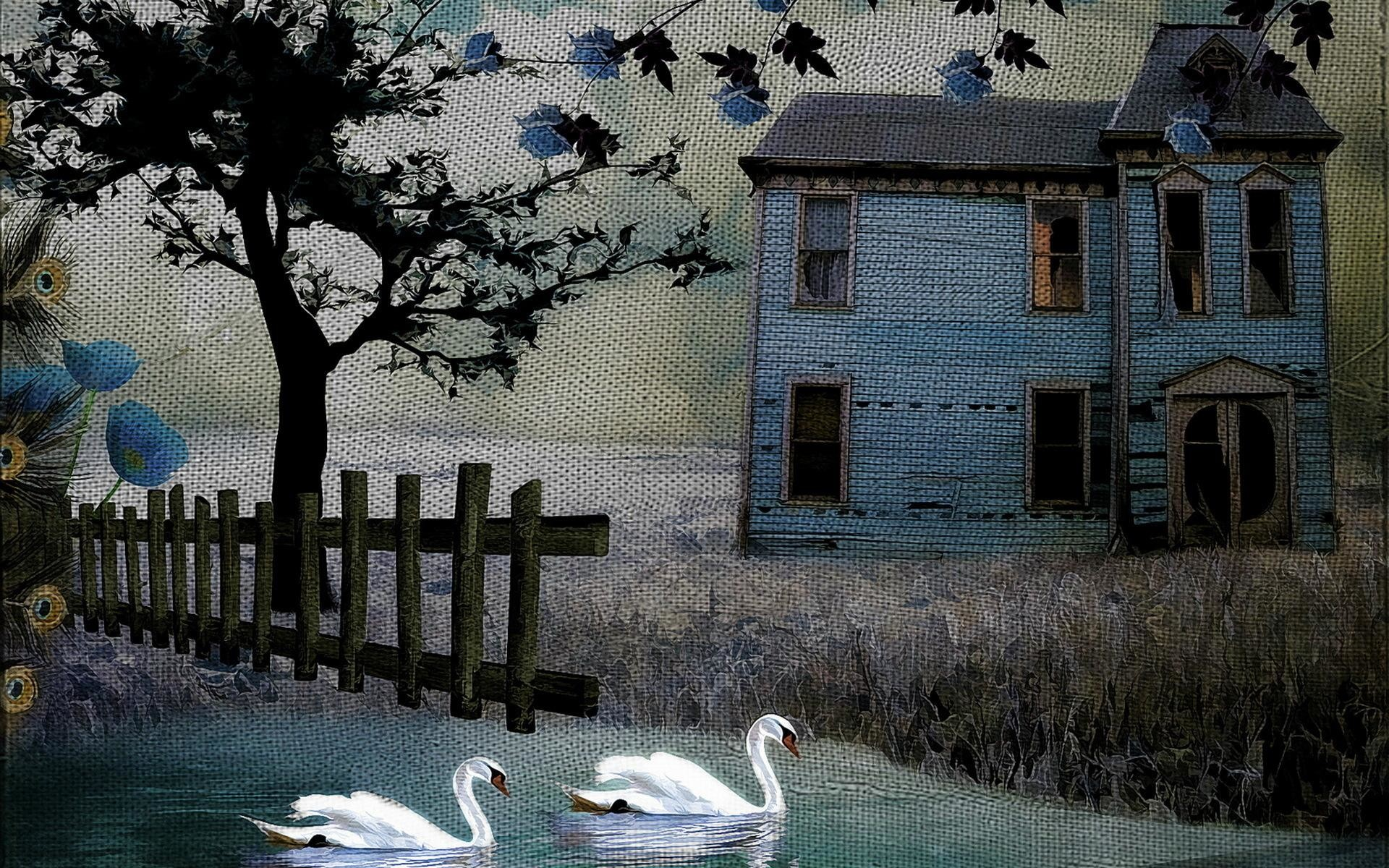 Painting Art Texture Rustic Birds Swan Fence House Buildings Architecture  Trees HD Background