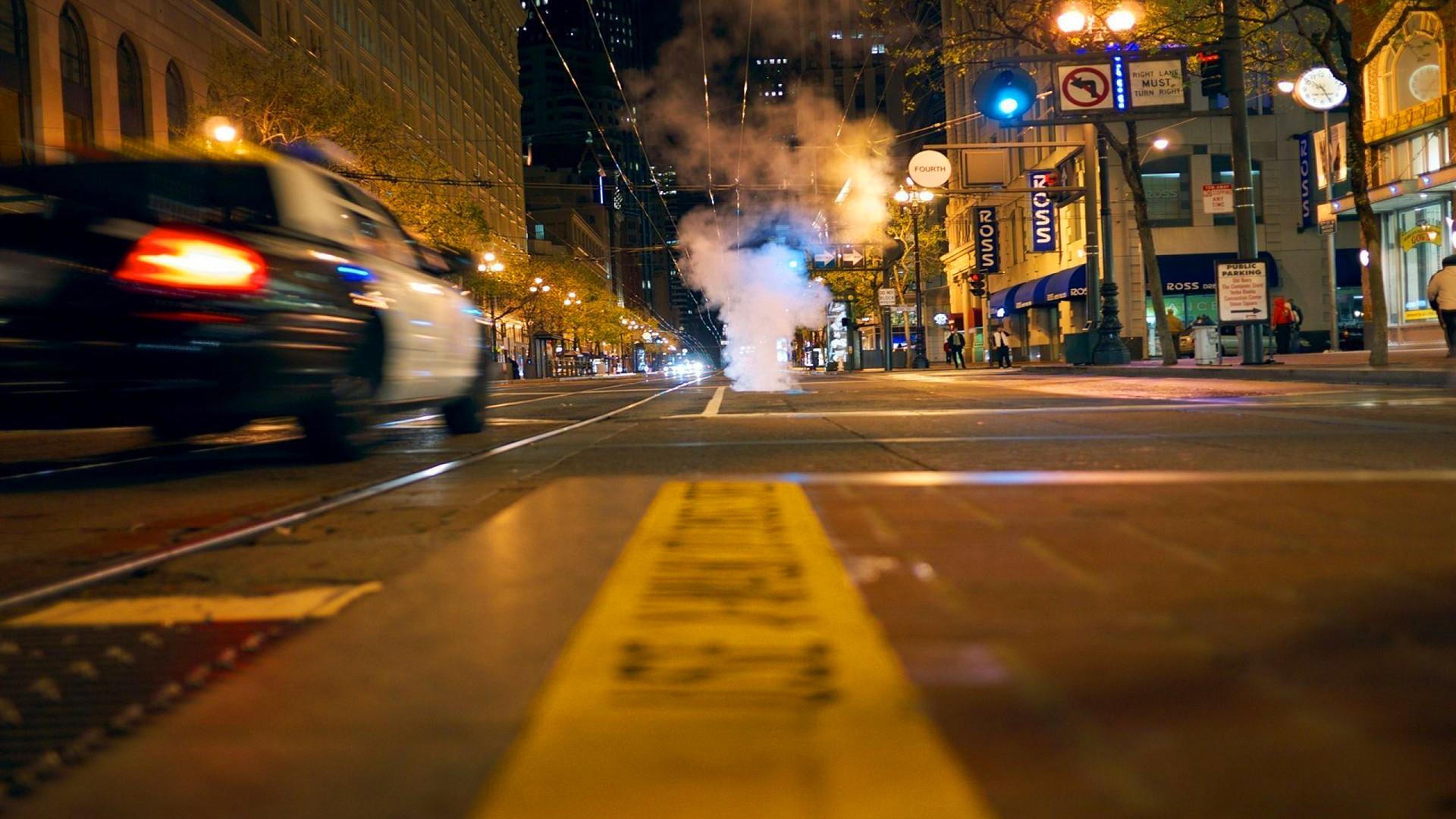 Urban city streets police