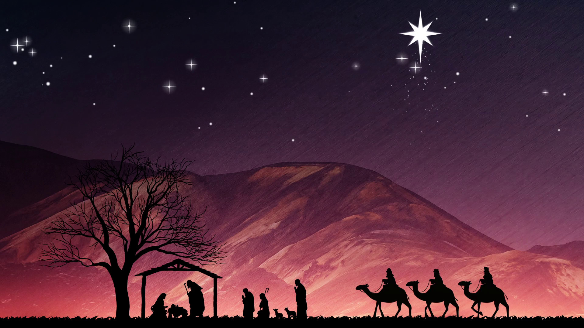 Christmas Nativity Scene. Shepherds Wise Me And Large Bethlehem Star Motion  Background – VideoBlocks
