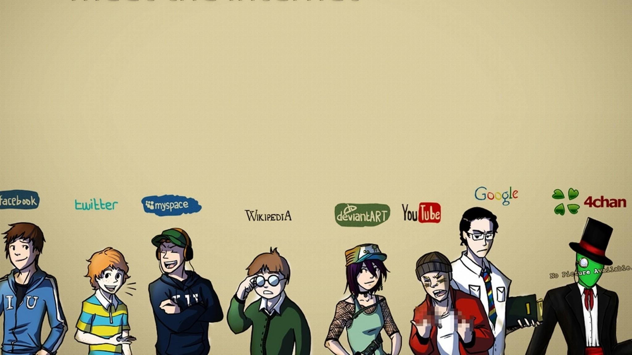 Wallpaper internet, facebook, twitter, myspace, wikipedia,  deviantart, youtube,