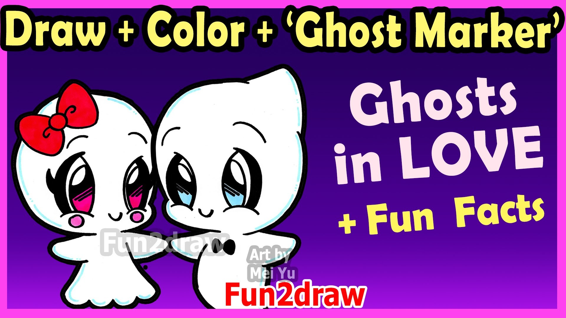 How to Draw and Color CUTE Ghost Couple in LOVE – Easy Cartoon Drawings  Halloween Fun2draw – YouTube