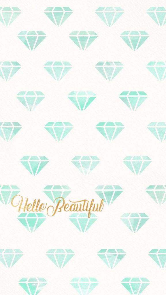 Hello beautiful, wallpaper, background, iPhone, phone, diamond, diamonds,  teal