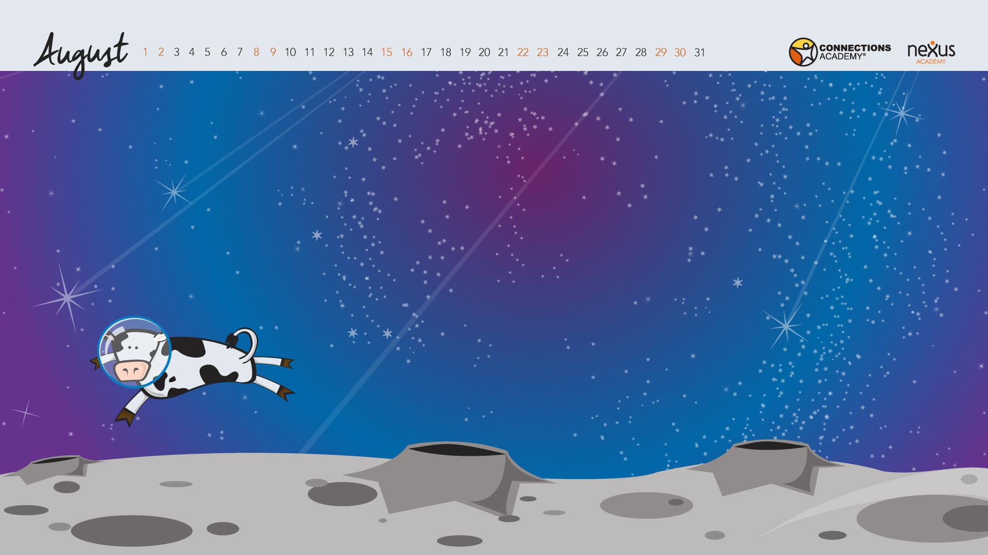 Space-themed desktop wallpaper calendar: August 2015