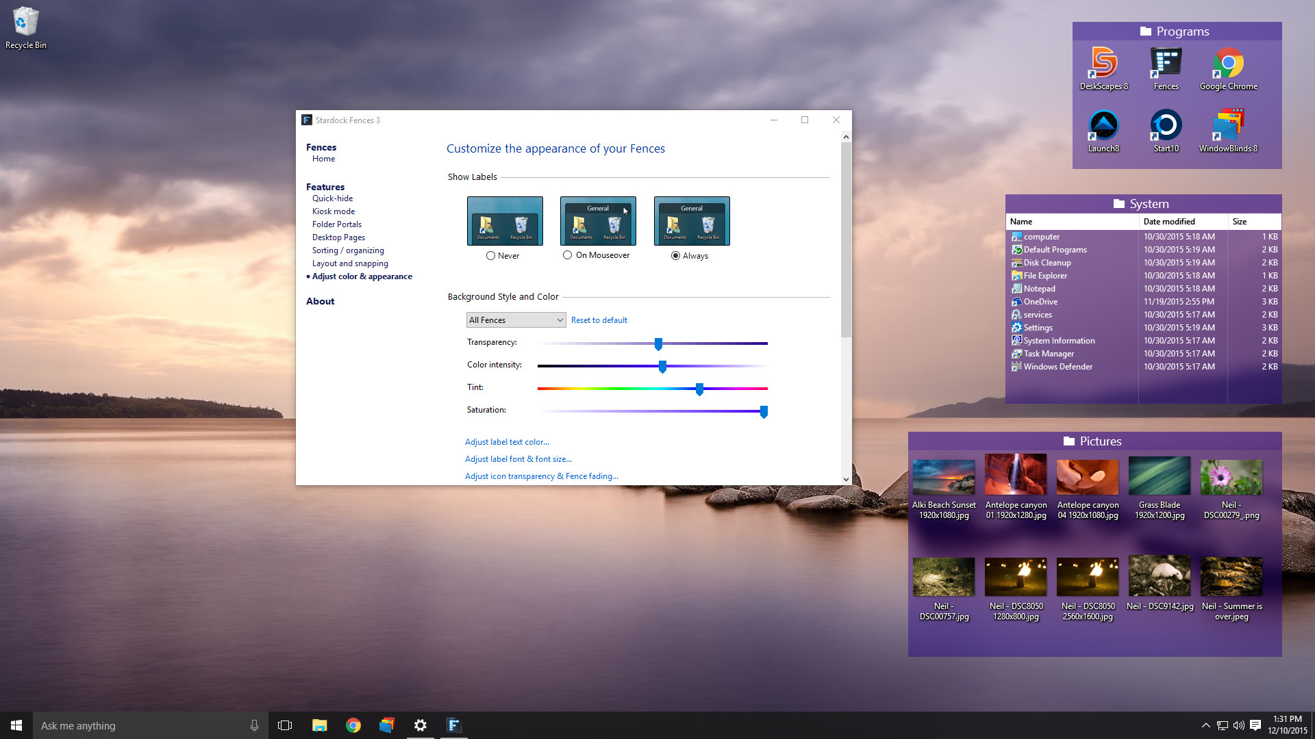 Automatically organize your desktop shortcuts and icons with Fences®!