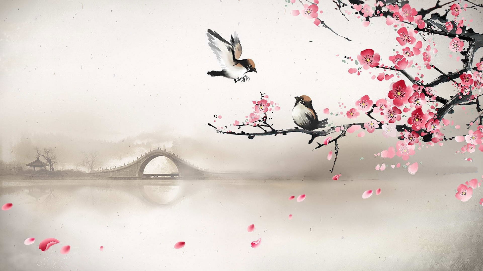 Art asian oriental flowers blossom bridges wallpaper   .