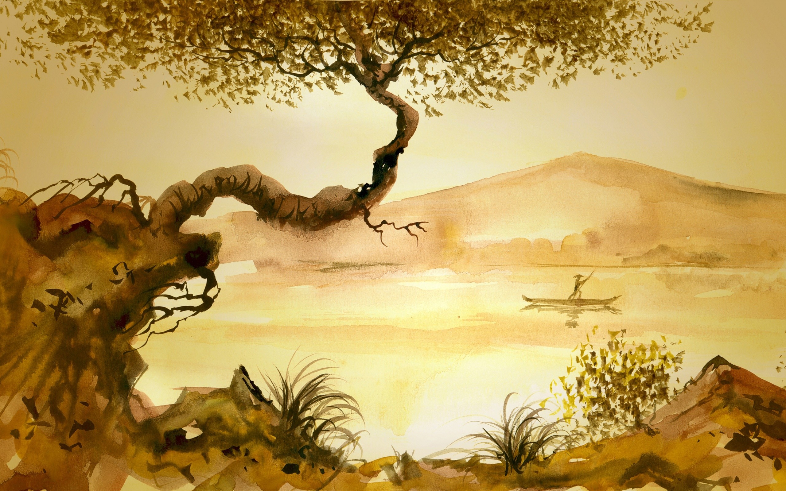 Junk man tree grass asian lake painting mood wallpaper     176941    WallpaperUP