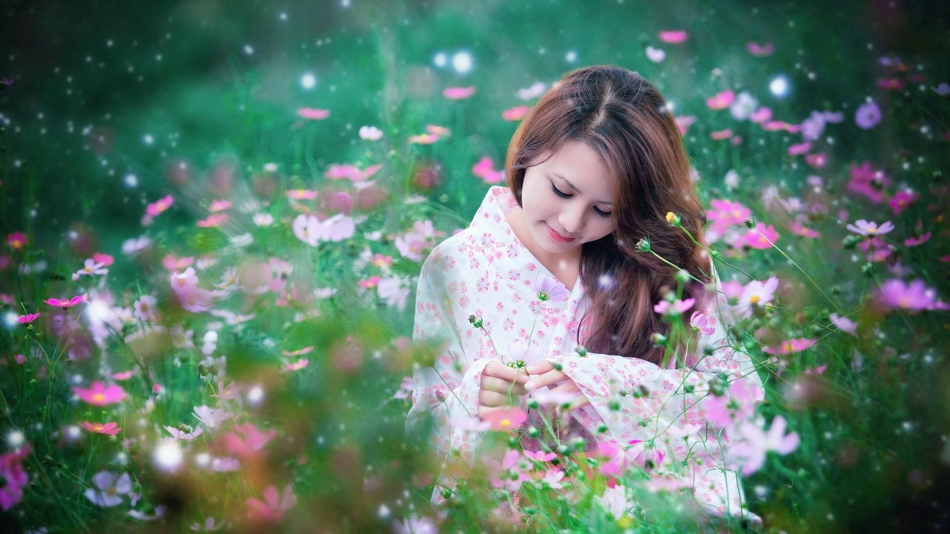 Wallpaper asian, girl, field, flowers