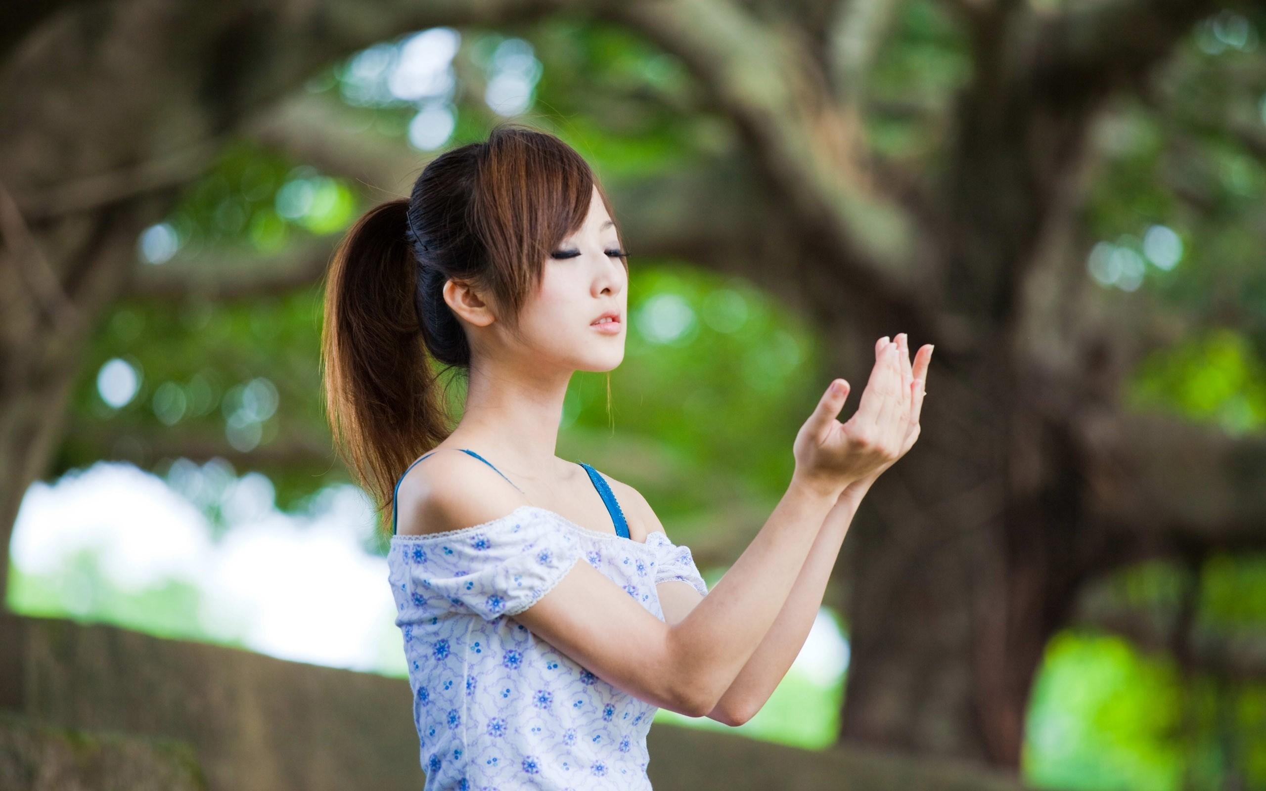 Wallpaper asian, girl, gesture, model
