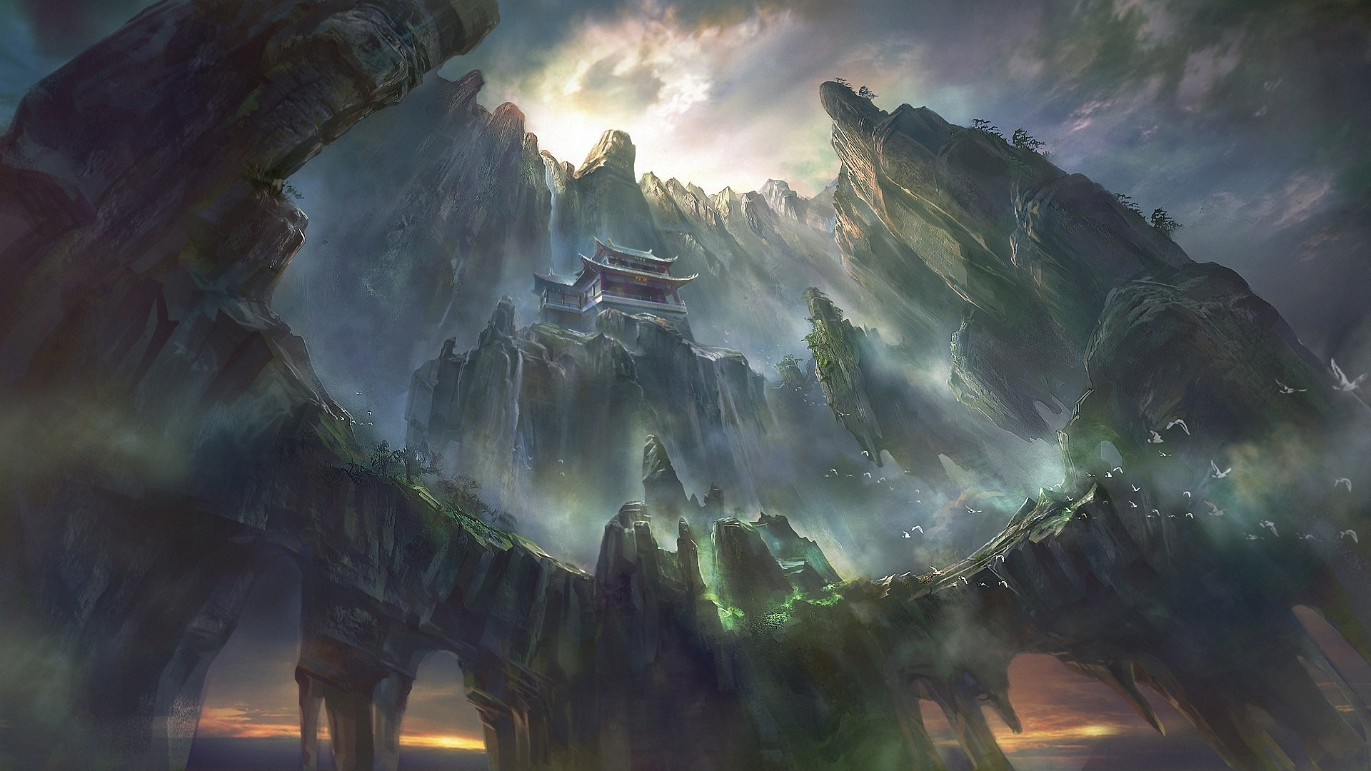 artwork, Fantasy Art, Pagoda, Asian Architecture, Mountain, Waterfall,  Digital Art, Rock Formation Wallpapers HD / Desktop and Mobile Backgrounds