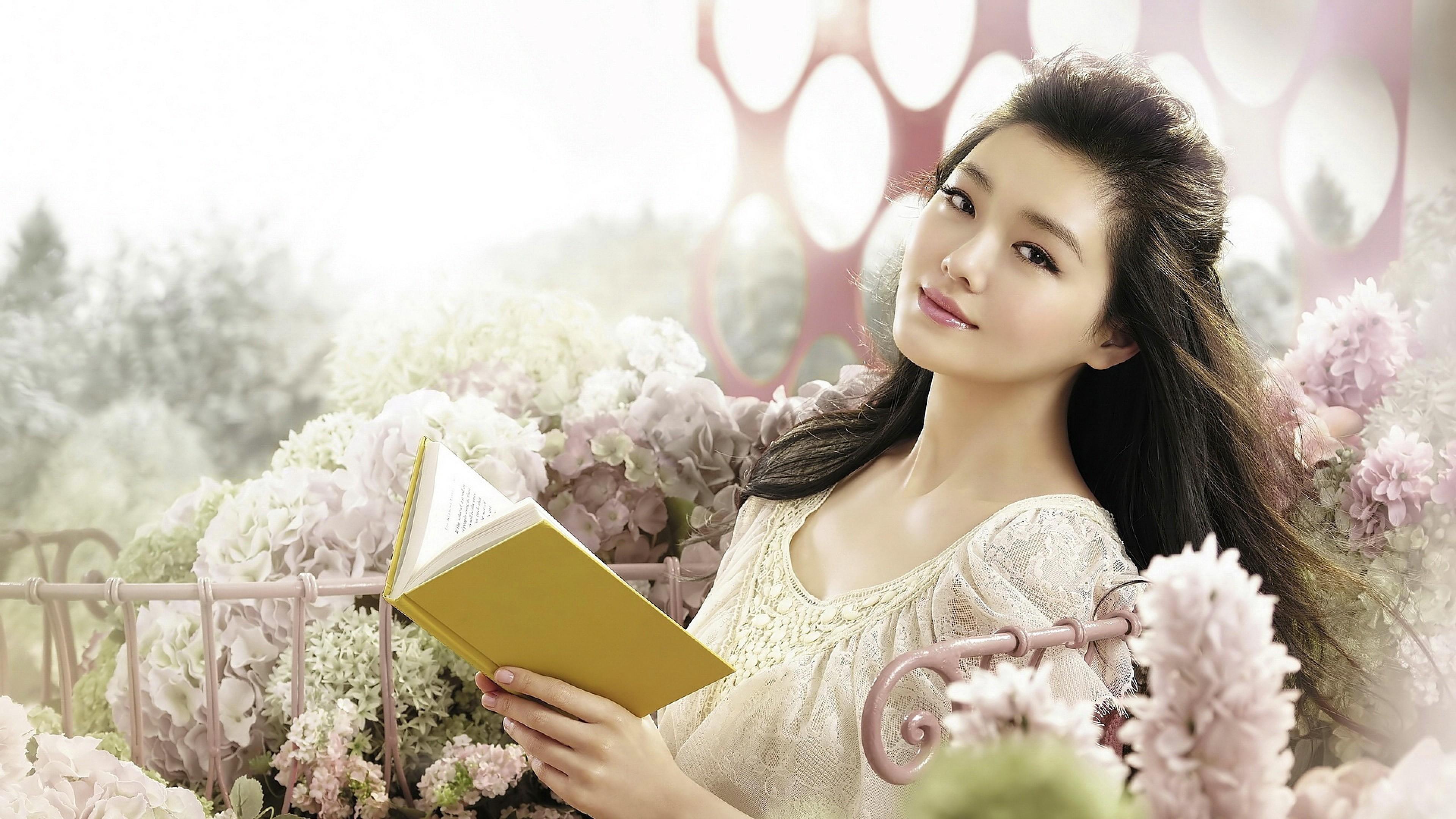 Wallpaper asian, girl, face, book, smile