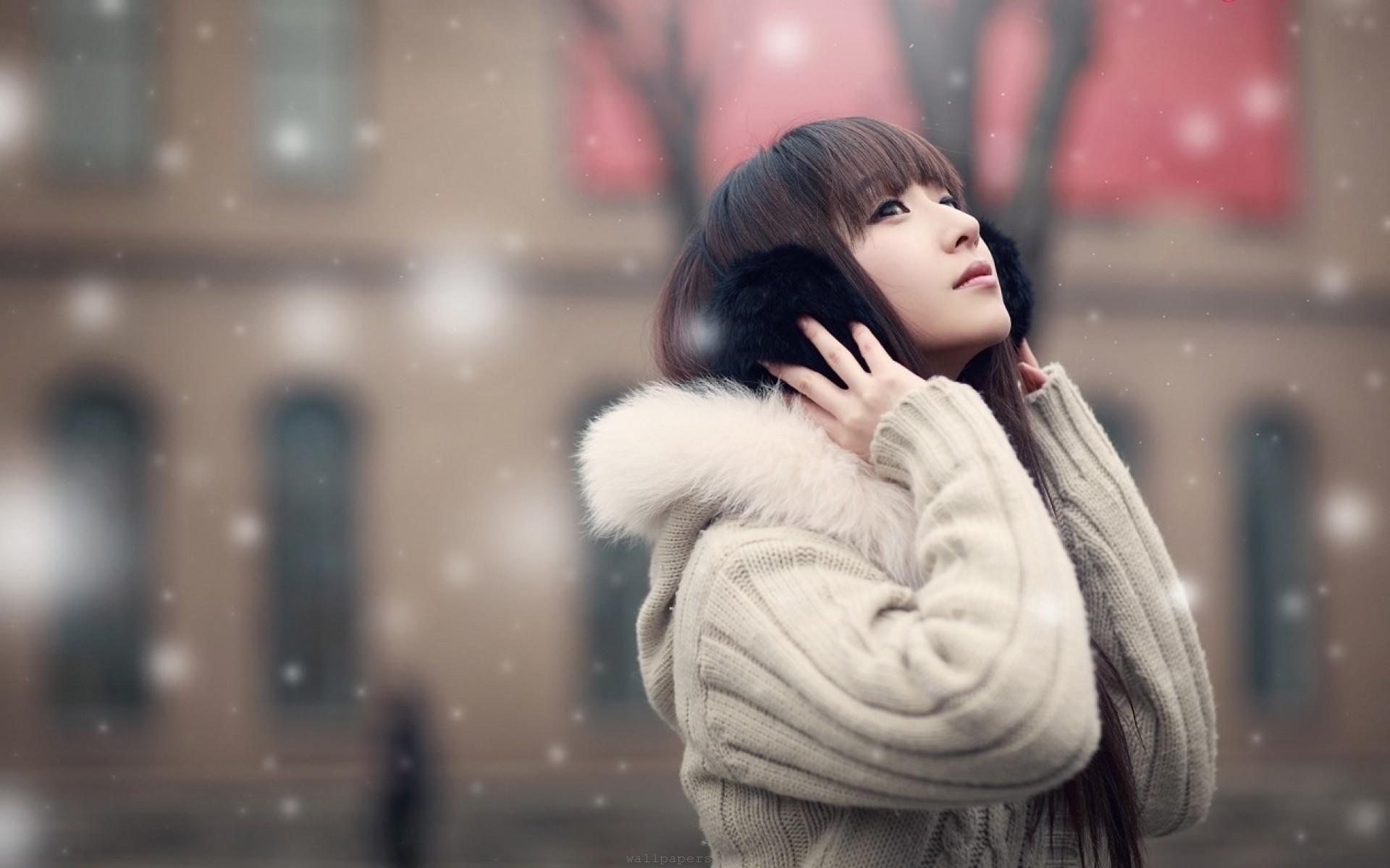 Beautiful Asian Girl in Snow Fall HD Wallpaper