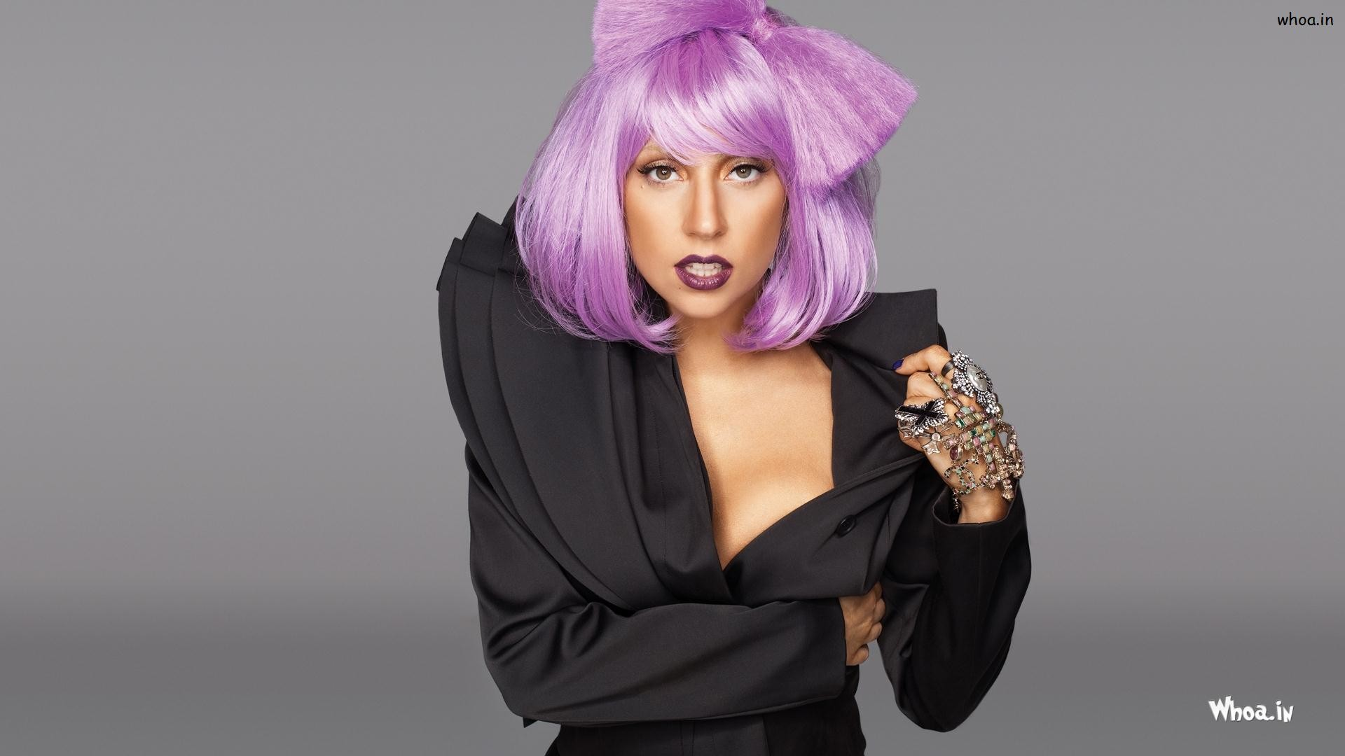 lady gagas purpal hair style wallpaper