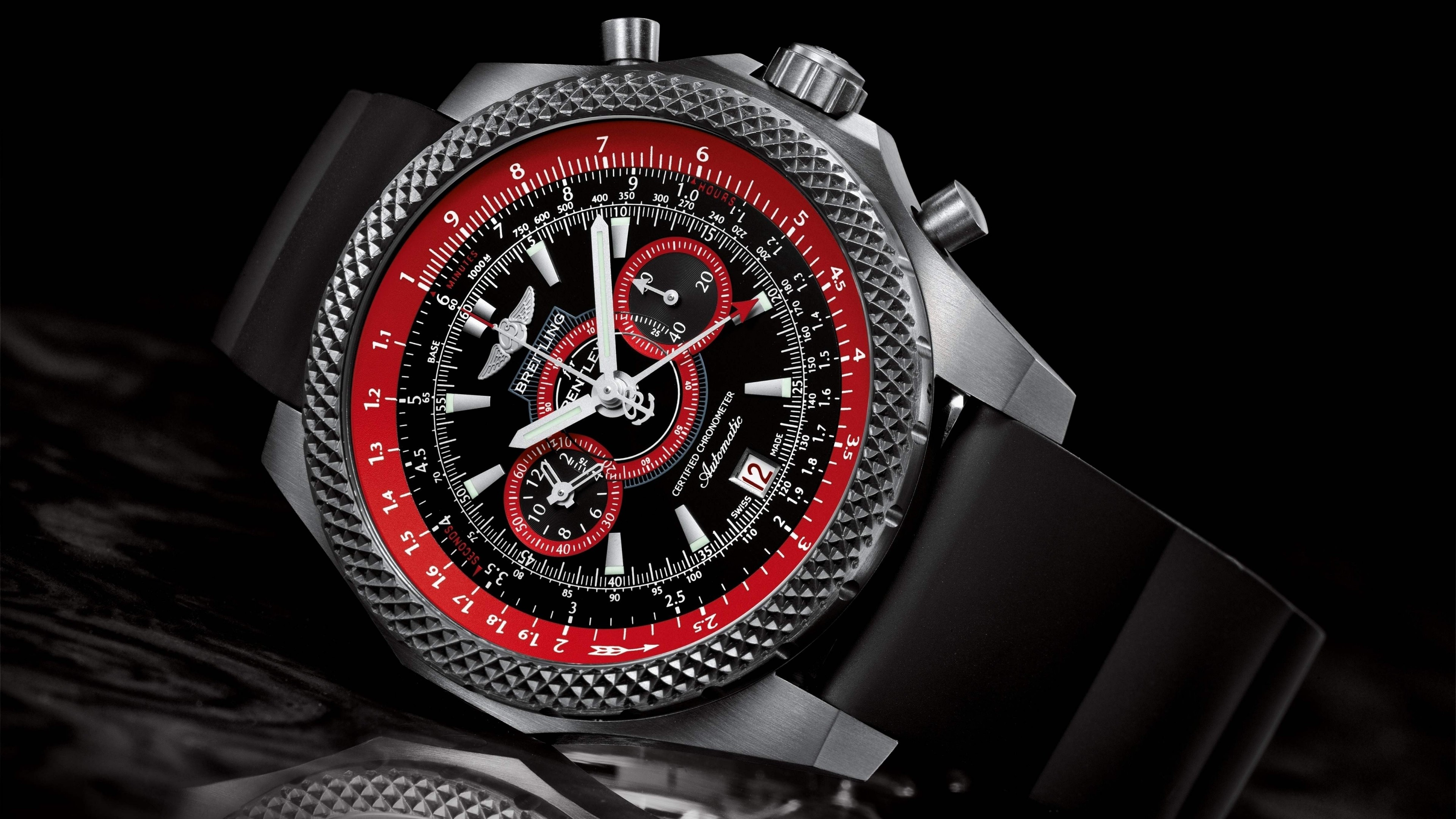 Preview wallpaper supersport, breitling, watches, wristwatch 3840×2160