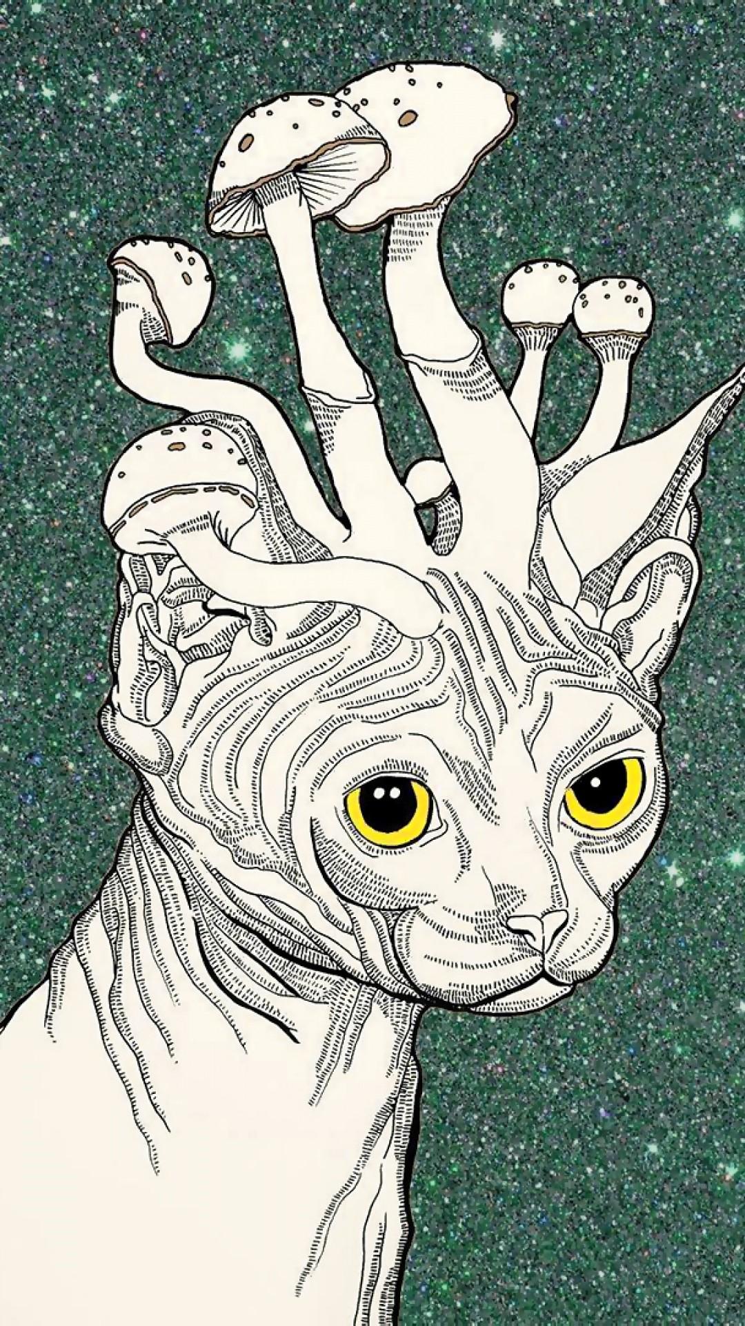Wallpaper trippy stoner, cat, mushrooms, art