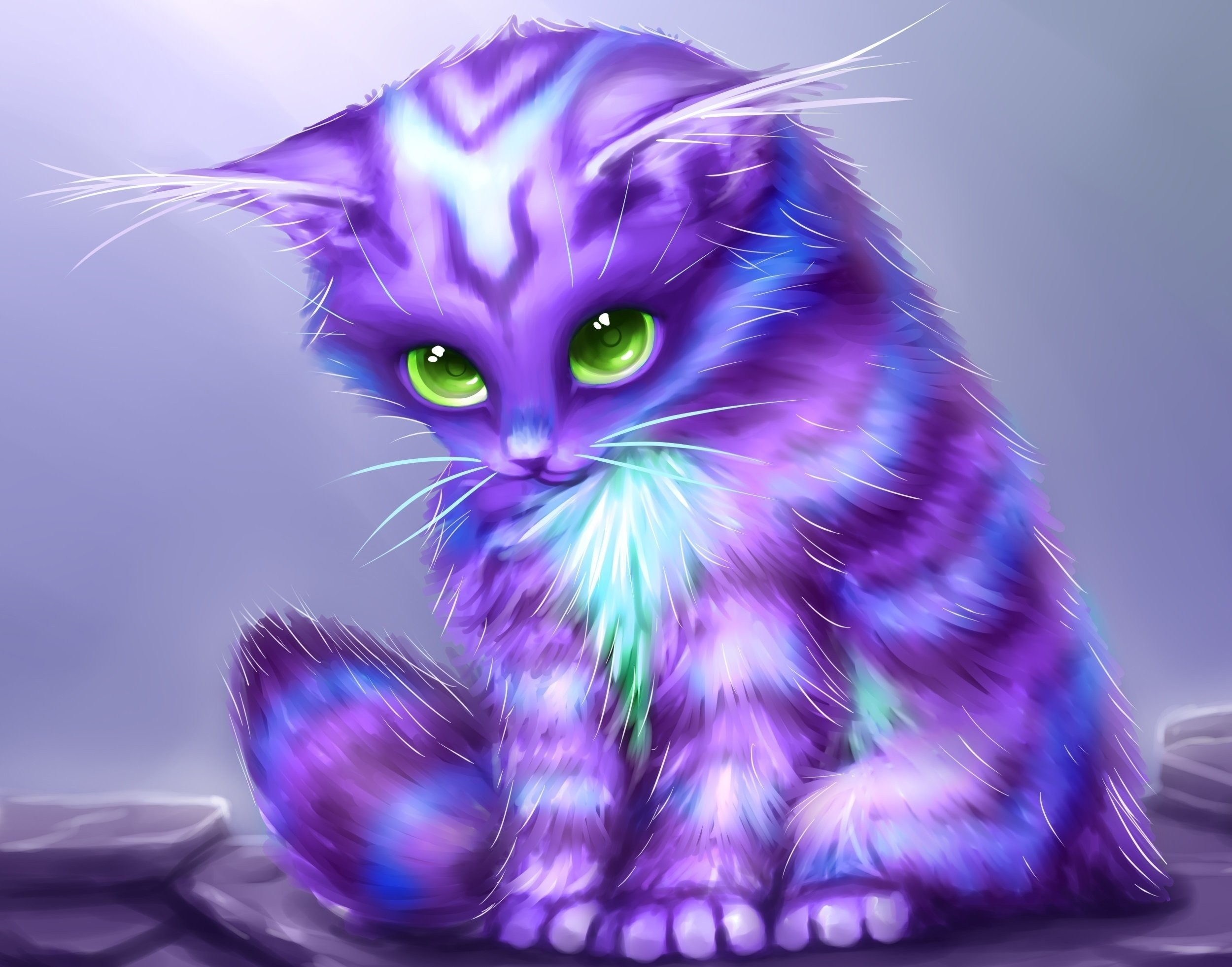 Cats Fantasy cat kitten baby cute psychedelic wallpaper background .