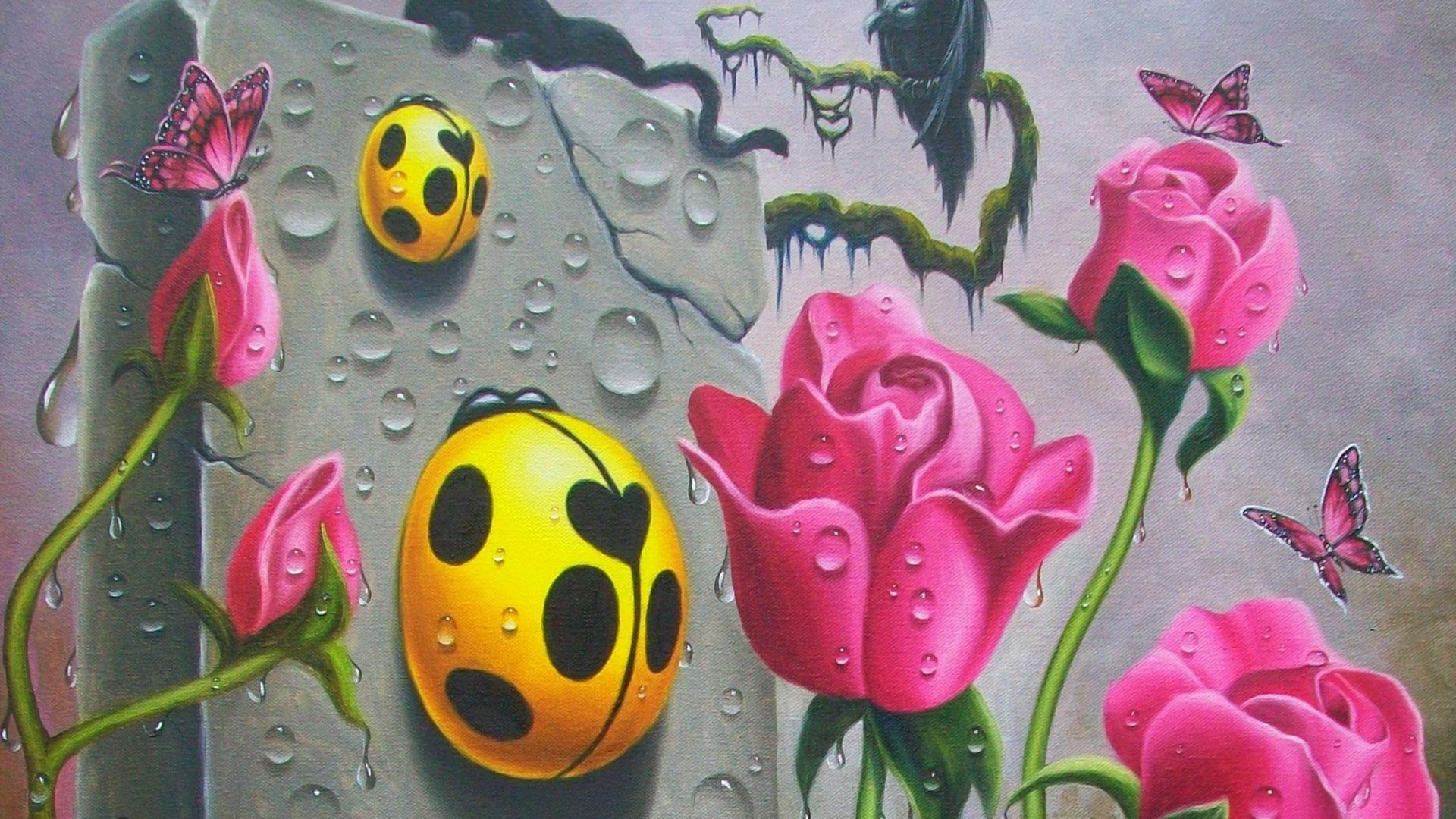 Animals Tag – Panther Art Scent Cute Roses Cat Canvas Pretty Fantasy Water  Red Oil Sweet