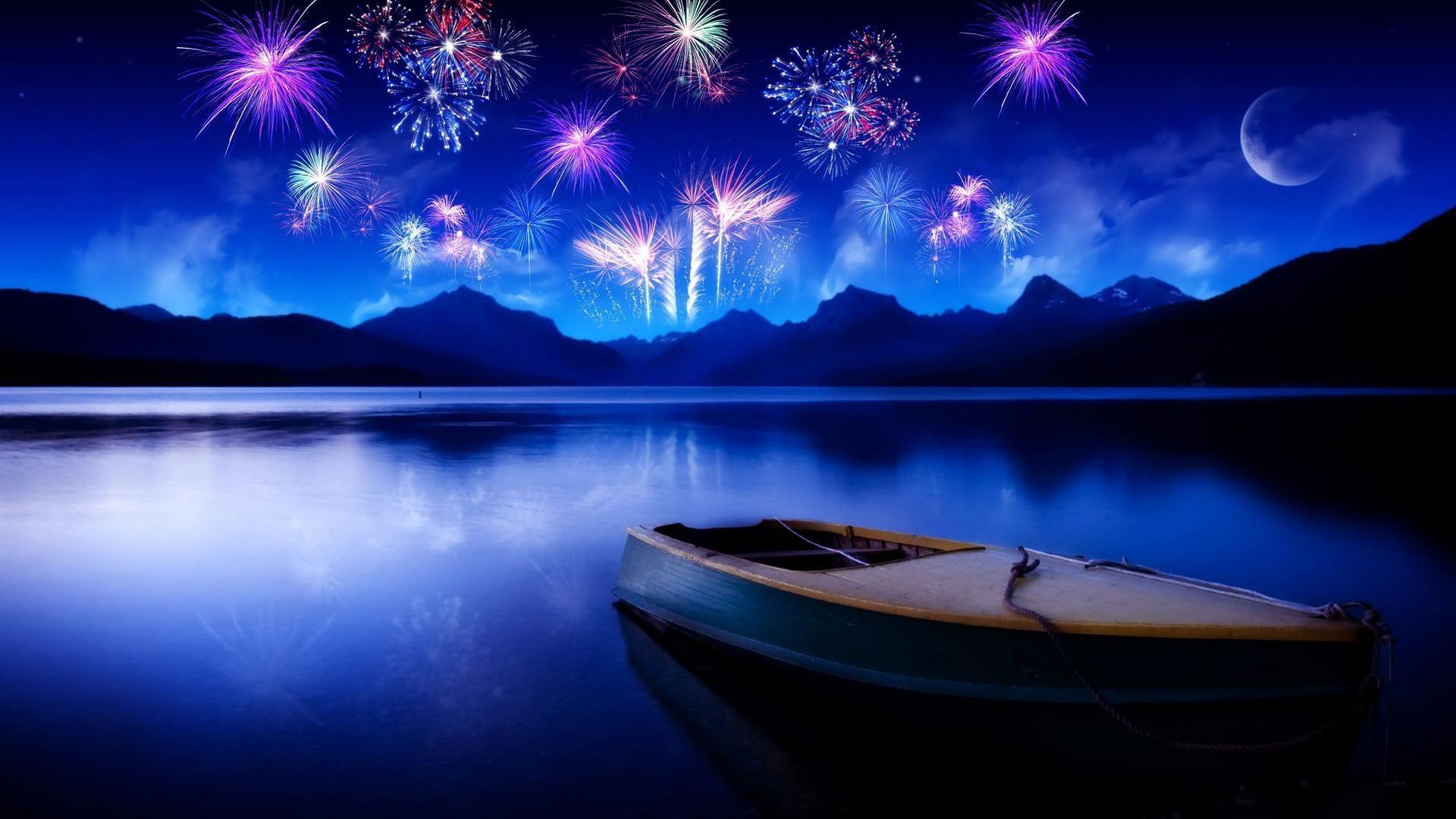 Cool Bright twilight fireworks lake desktop backgrounds wide  wallpapers:1280×800,1440×900,1680×1050