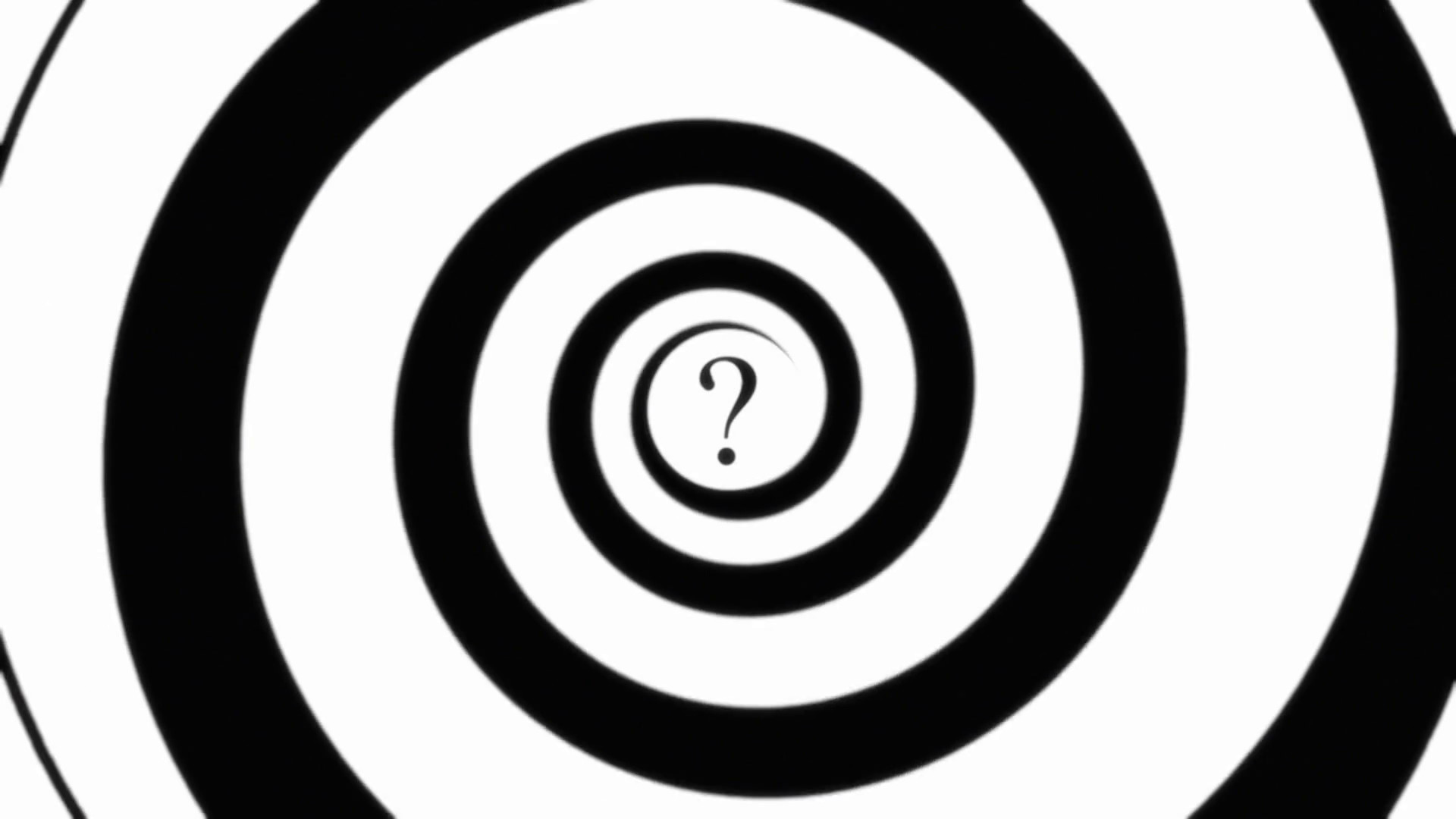 Hypnotic Spiral Modern Question Mark. An animated spiral (hypnotic), with a  question mark at the center. Black and white. Seamless loop.