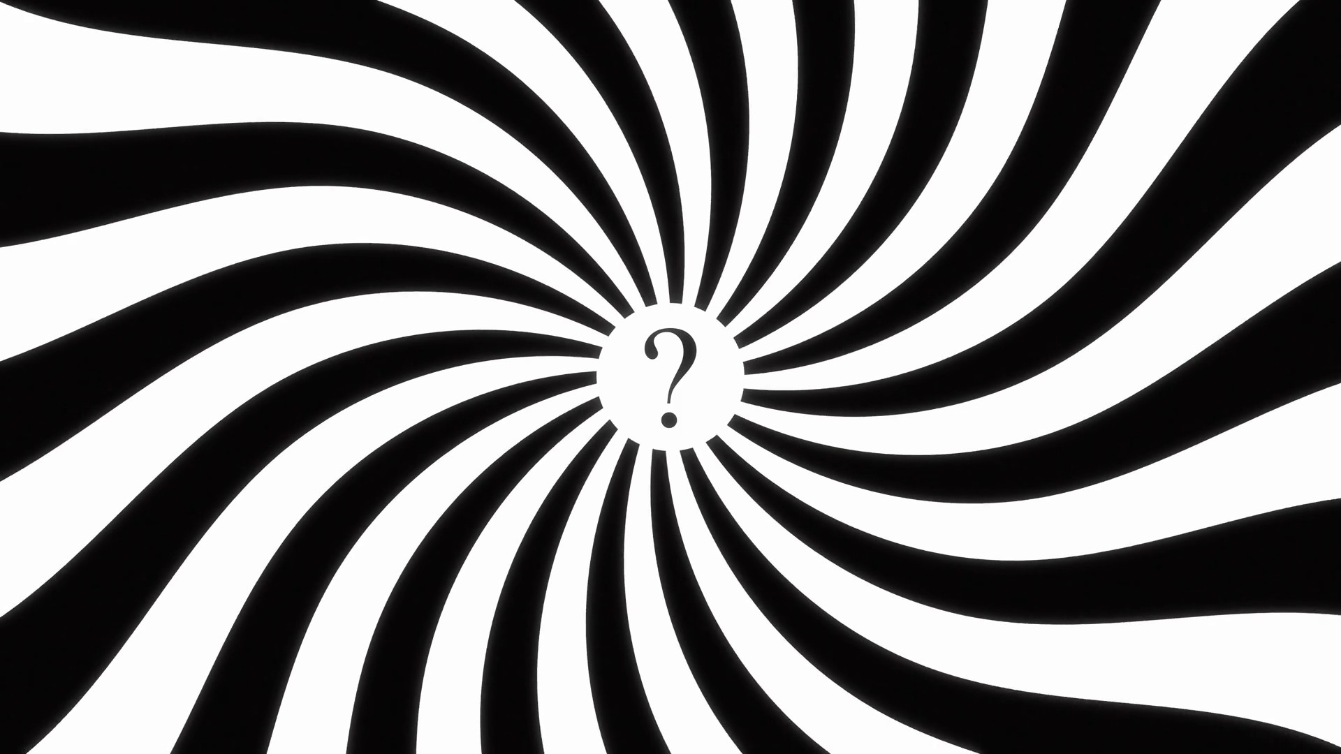 Hypnotic Spiral Dis Question Mark 4k. A 4k animated spiral (hypnotic), with  a question mark at the center. Black and white. Seamless loop.