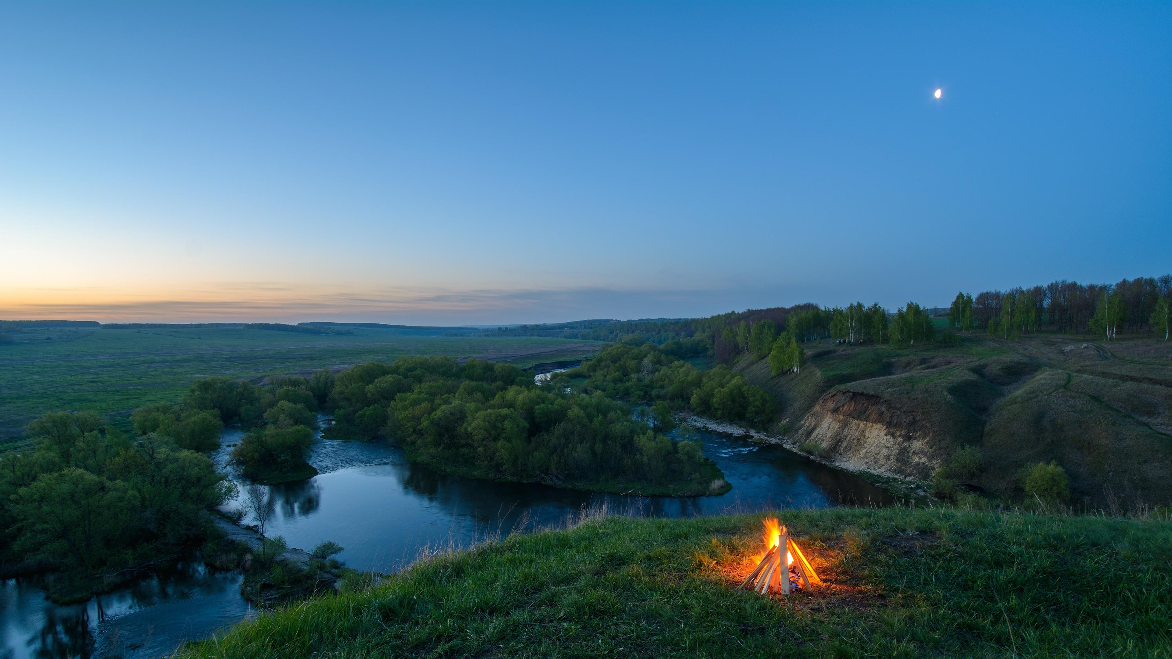 Camp Fire Near Lake 4K Ultra HD Desktop Wallpaper Uploaded by DesktopWalls